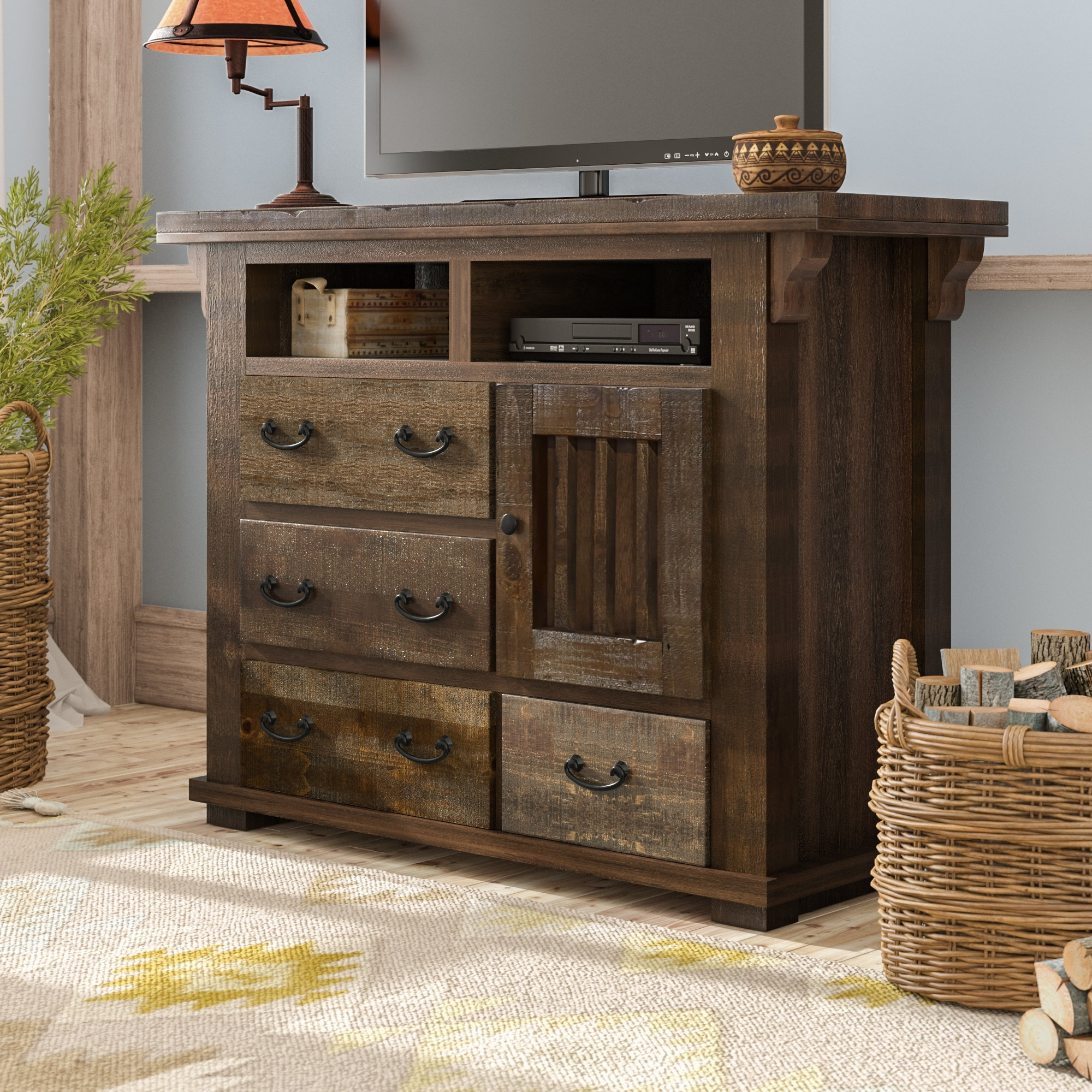 Loon Peak Buchanan 4 Drawer Media Chest & Reviews | Wayfair Pertaining To Best And Newest Bale Rustic Grey Sideboards (#15 of 20)