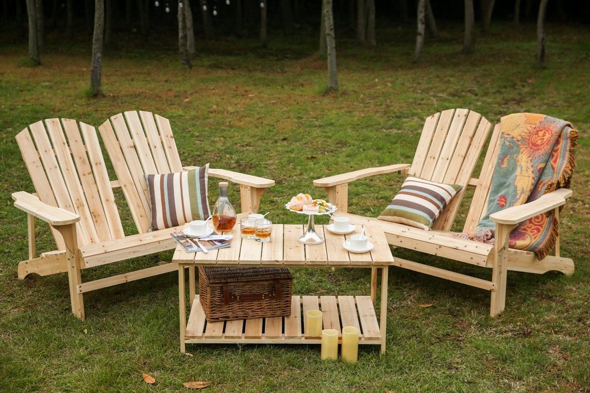 Loon Peak Ogrady 3 Piece Double Adirondack Chair And Table Set Pertaining To Most Current Grady Side Chairs (#11 of 20)