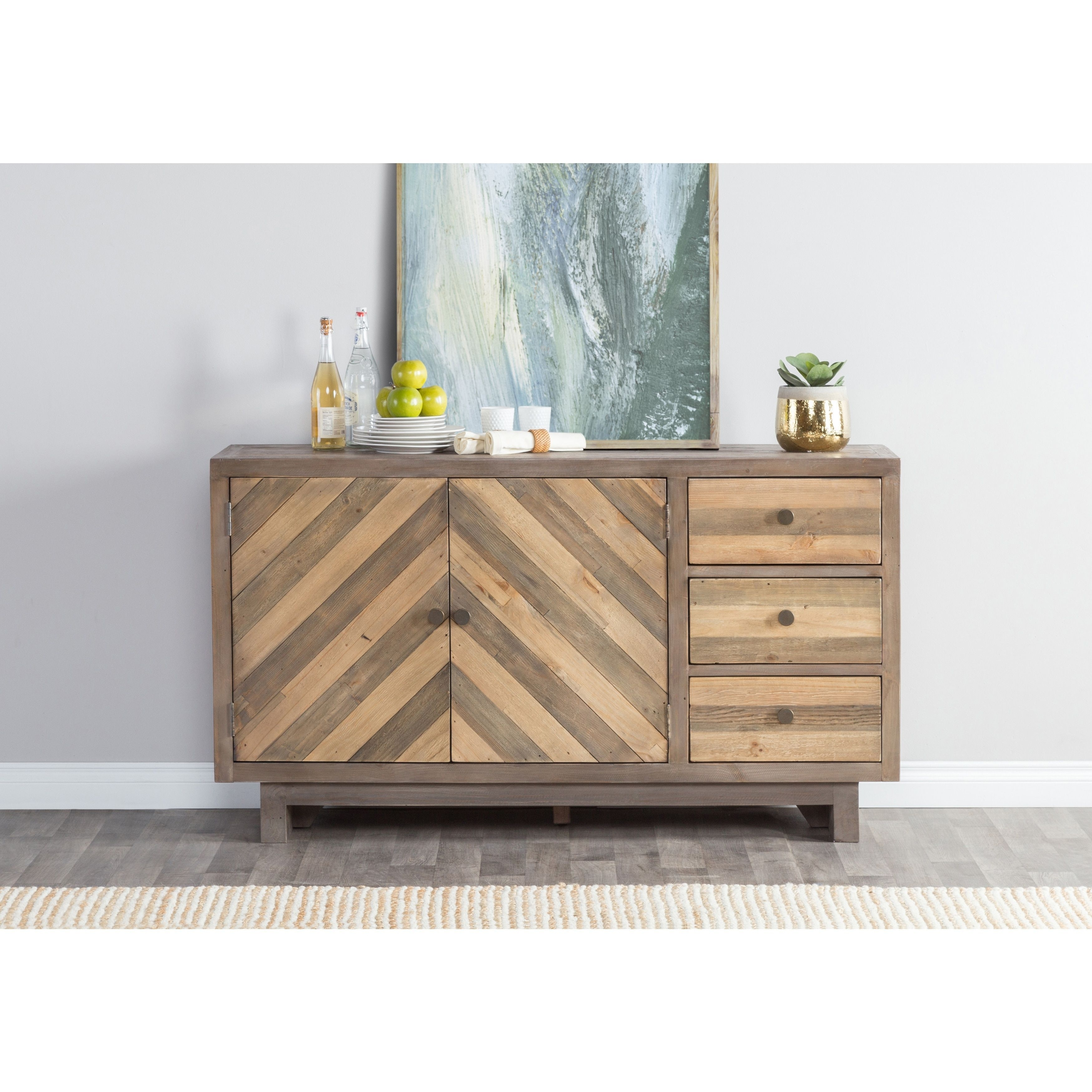 Los Santos Reclaimed Wood 63 Inch Chevron Sideboardkosas Home (3 With Most Current Brown Chevron 4 Door Sideboards (#11 of 20)