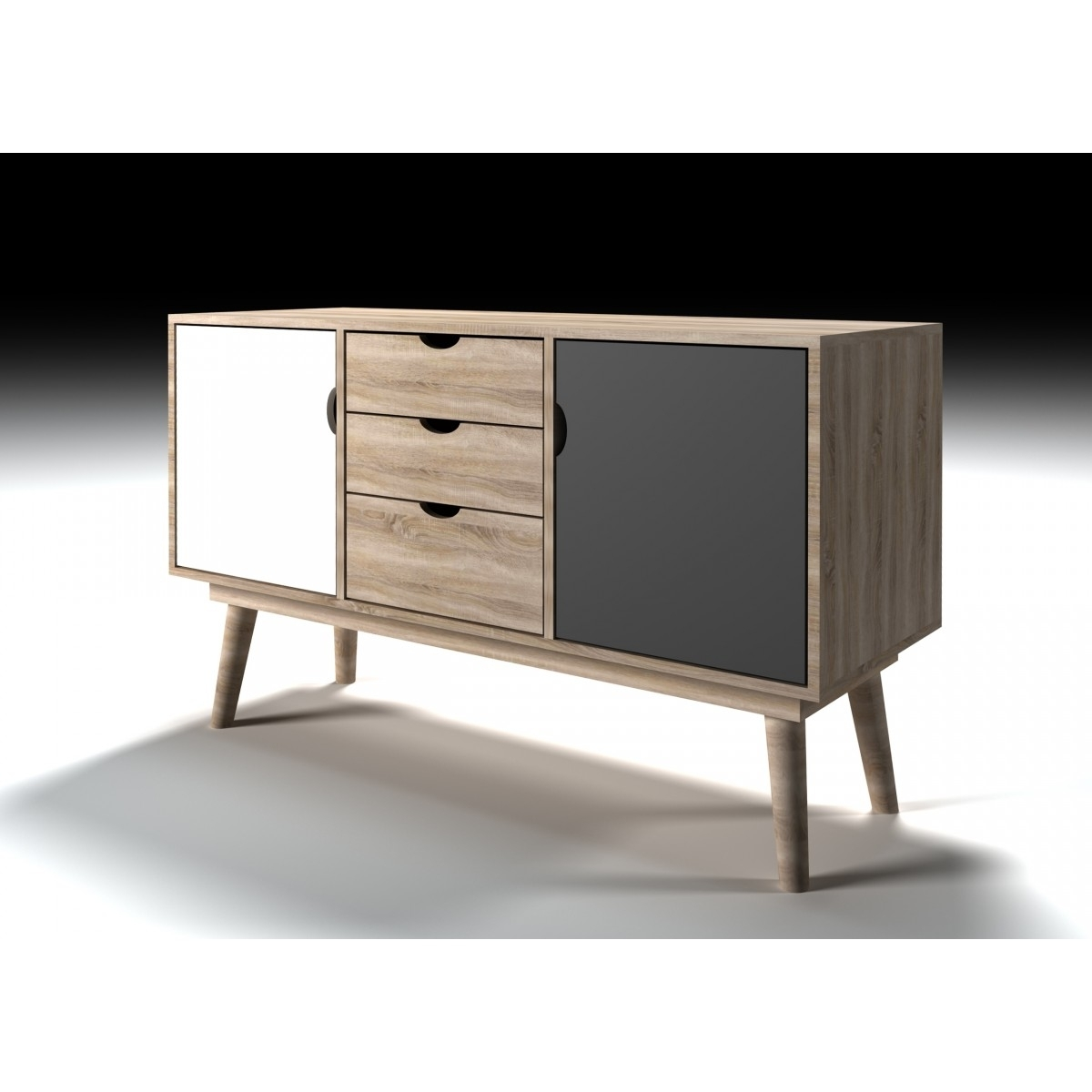 Lpd Scandi 2 Door 2 Drawer Oak Sideboard – White Or Grey – Home Done Inside Newest 3 Drawer/2 Door White Wash Sideboards (View 16 of 20)