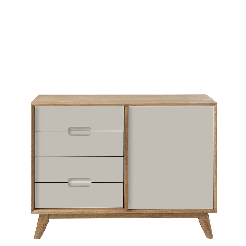 Lund 2 Section Sideboard, Grey | Sideboards | Dining Room Inside 2017 2 Door Mirror Front Sideboards (View 12 of 20)
