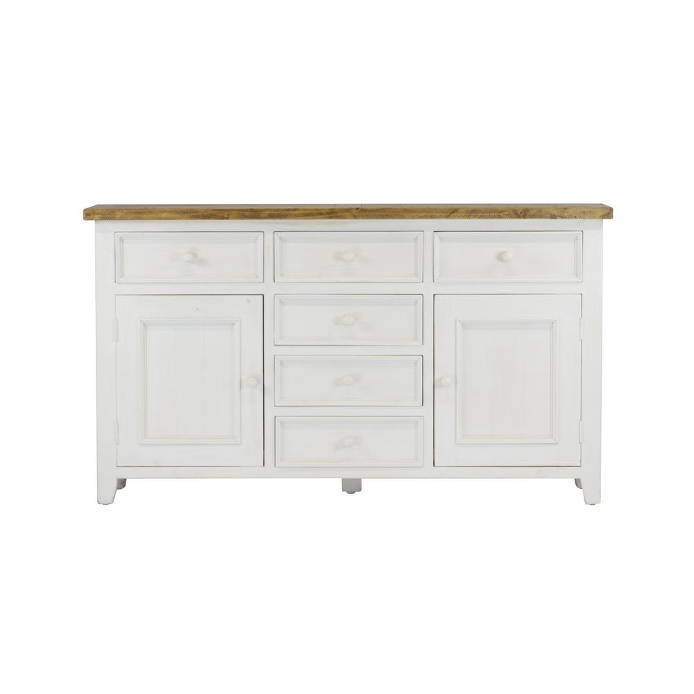 Lux Home Byron Distressed White Solid Reclaimed Wood Sideboard With Inside Most Popular Antique White Distressed 3 Drawer/2 Door Sideboards (#12 of 20)