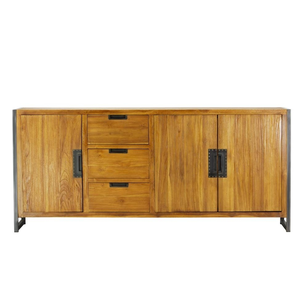 Lux Home Sumatra Industrial Metal Solid Natural Teak Wood Sideboard Intended For Best And Newest Industrial 3 Drawer 3 Door Sideboards (#14 of 20)