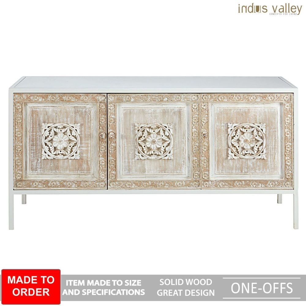Inspiration about Made To Order Floral Carved Wood Metal Base Sideboard Buffet Hutch Pertaining To Most Recent 4 Door 3 Drawer White Wash Sideboards (#11 of 20)