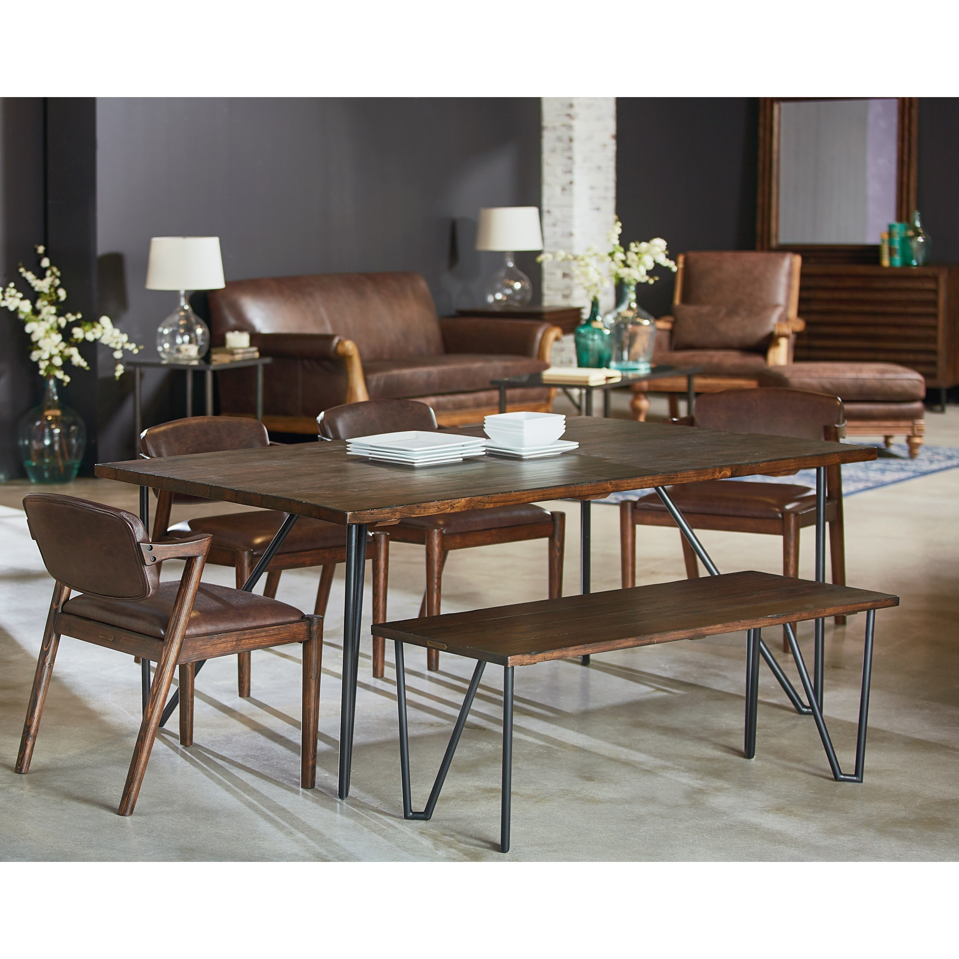 Magnolia Home Entwine Rattan Arm Chairs Within Widely Used 6 Piece Table And Chair Set With Bench And Metal Hairpin Legs (View 13 of 20)
