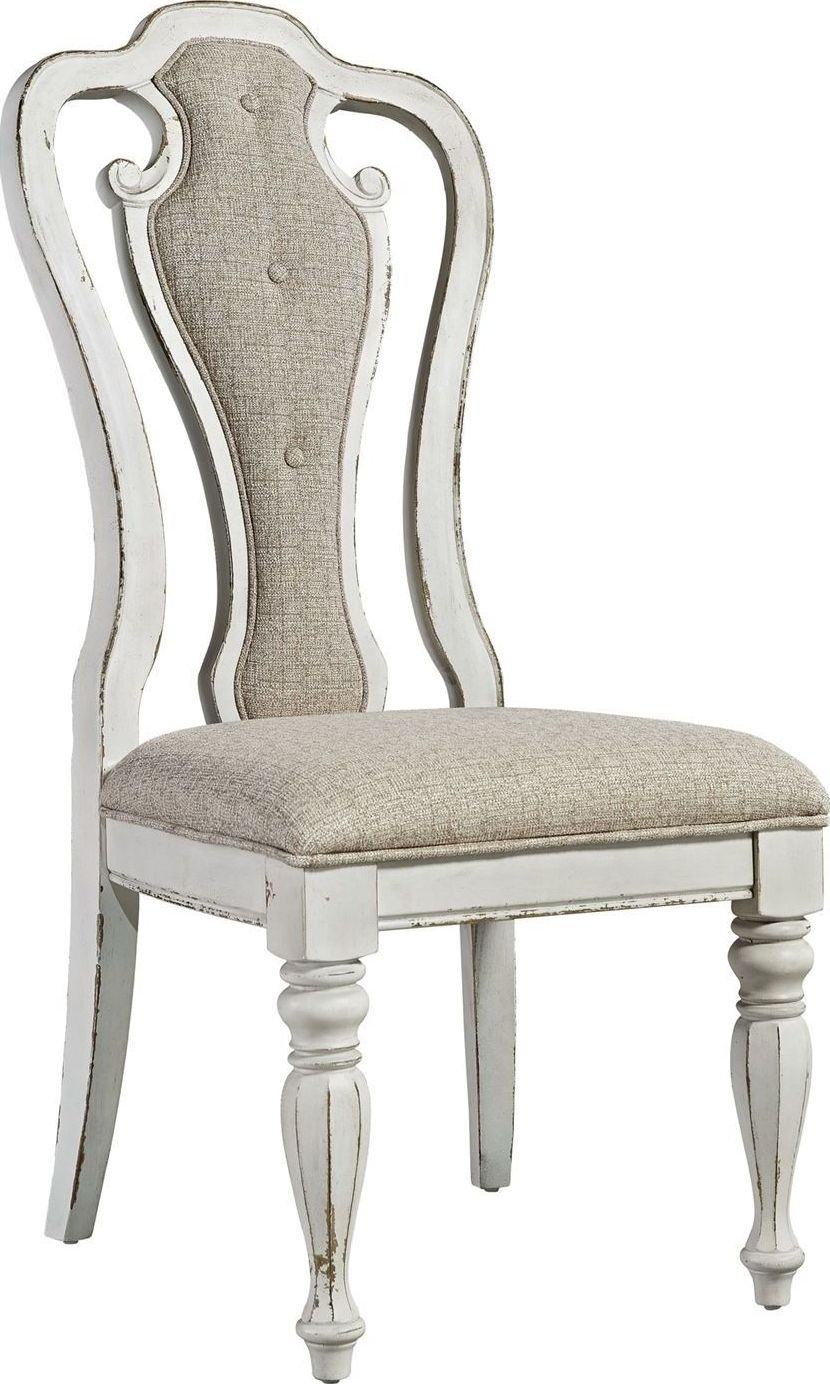 Magnolia Home Hamilton Saddle Side Chairs Within Most Recent Magnolia Manor Antique White Splat Back Arm Chair From Liberty (#10 of 20)