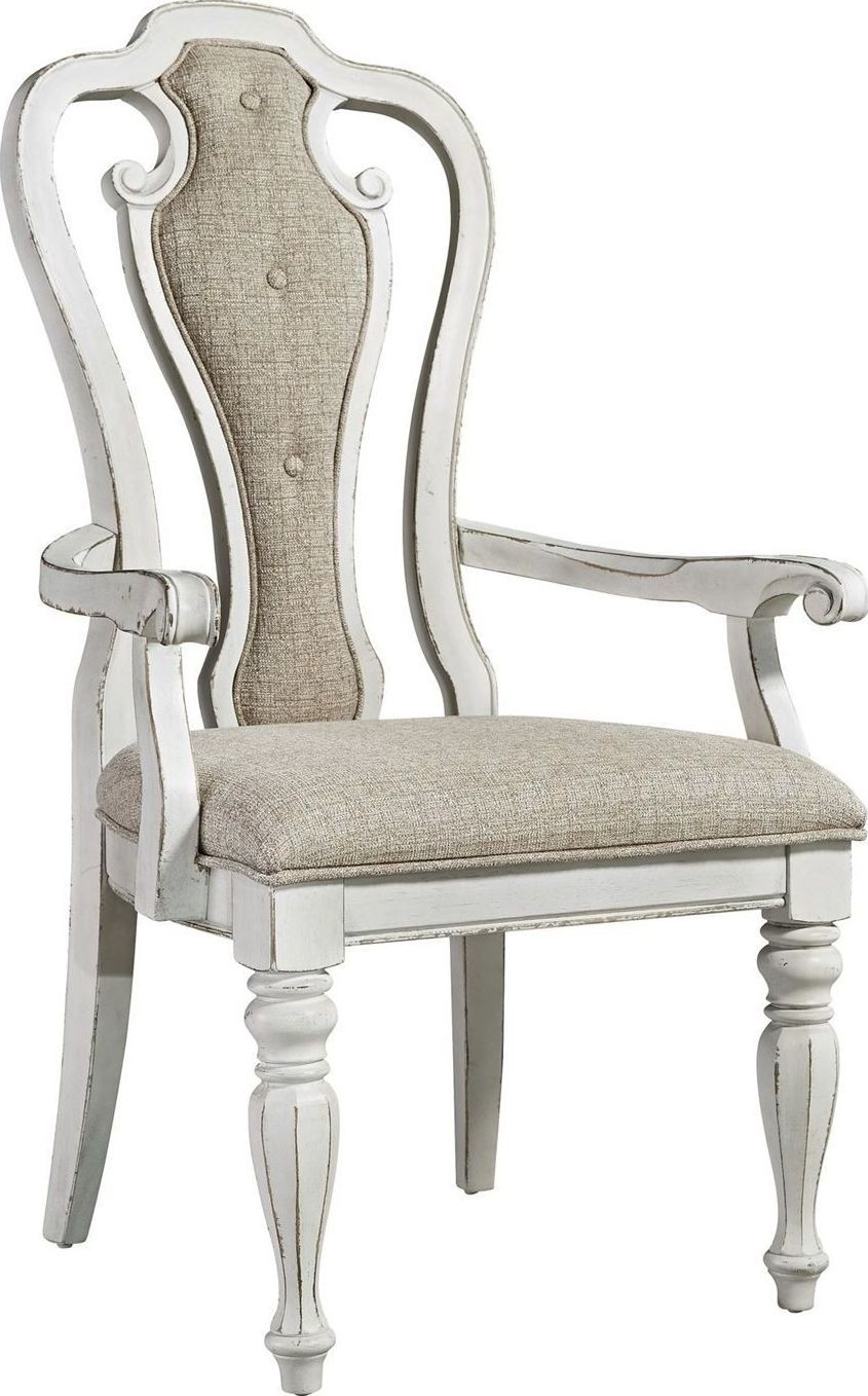Inspiration about Magnolia Manor Antique White Splat Back Arm Chair From Liberty Pertaining To Widely Used Magnolia Home Hamilton Saddle Side Chairs (#8 of 20)