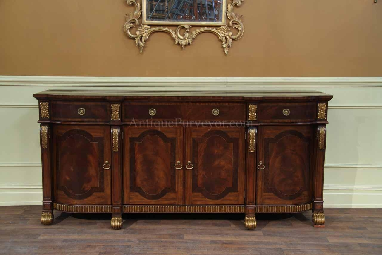 Mahogany Sideboard With Gold Leaf Accents For The Dining Room Within Most Recent 4 Door/4 Drawer Cast Jali Sideboards (#8 of 20)