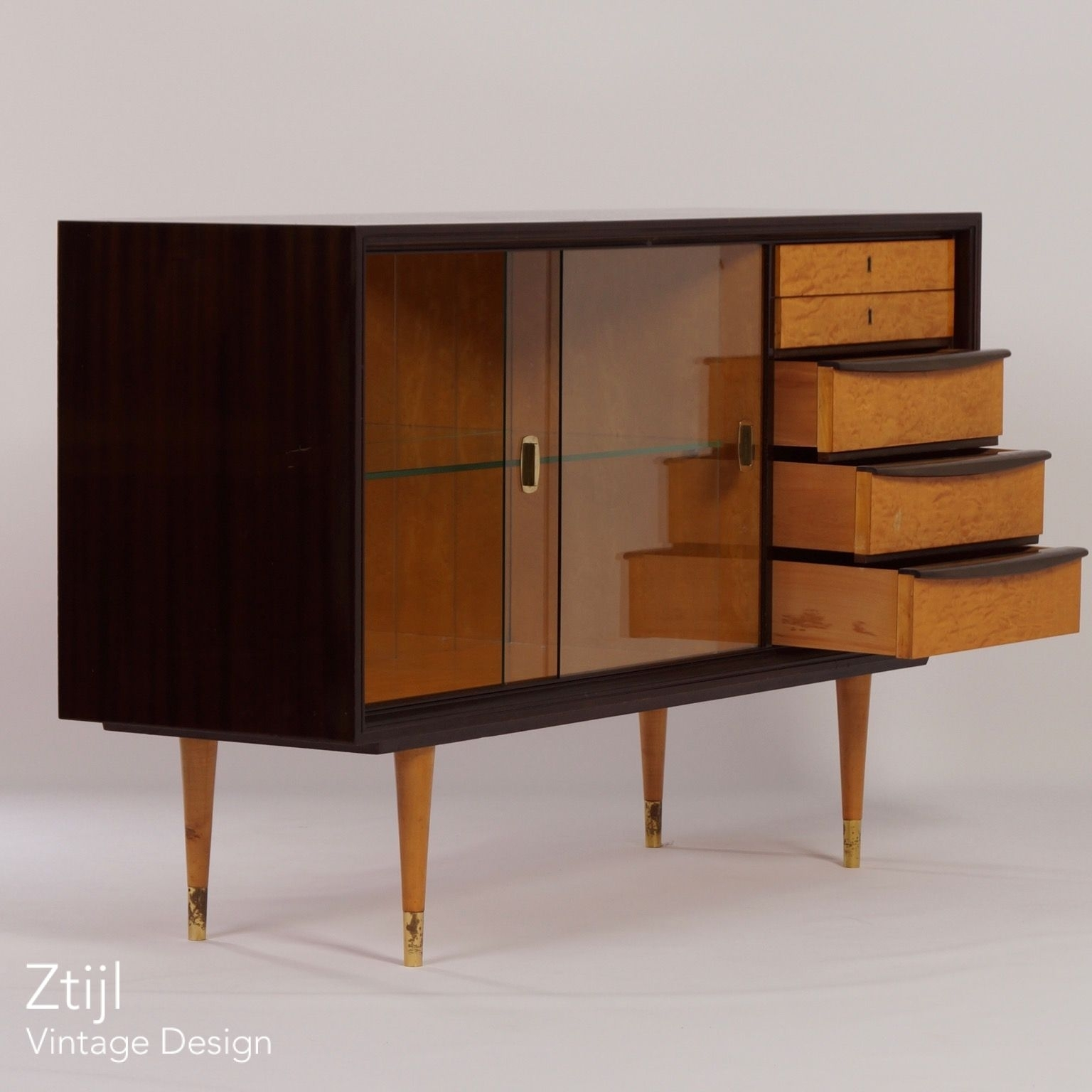 Mahogany Sideboard With Showcase And Brass Details, 1960s – Vintage Inside Most Up To Date Aged Brass Sideboards (View 10 of 20)