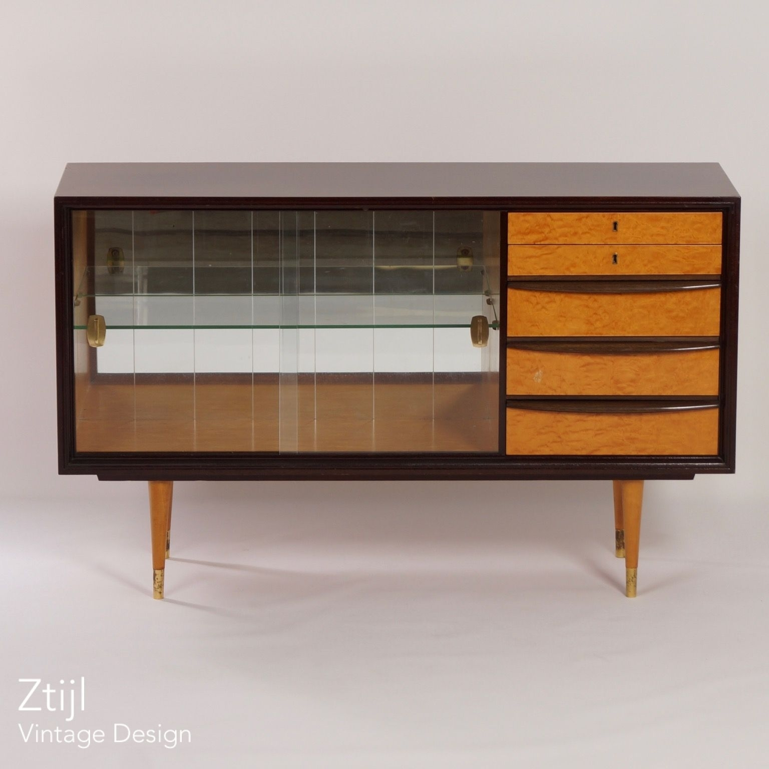 Mahogany Sideboard With Showcase And Brass Details, 1960S – Vintage Inside Recent Vintage 8 Glass Sideboards (View 15 of 20)