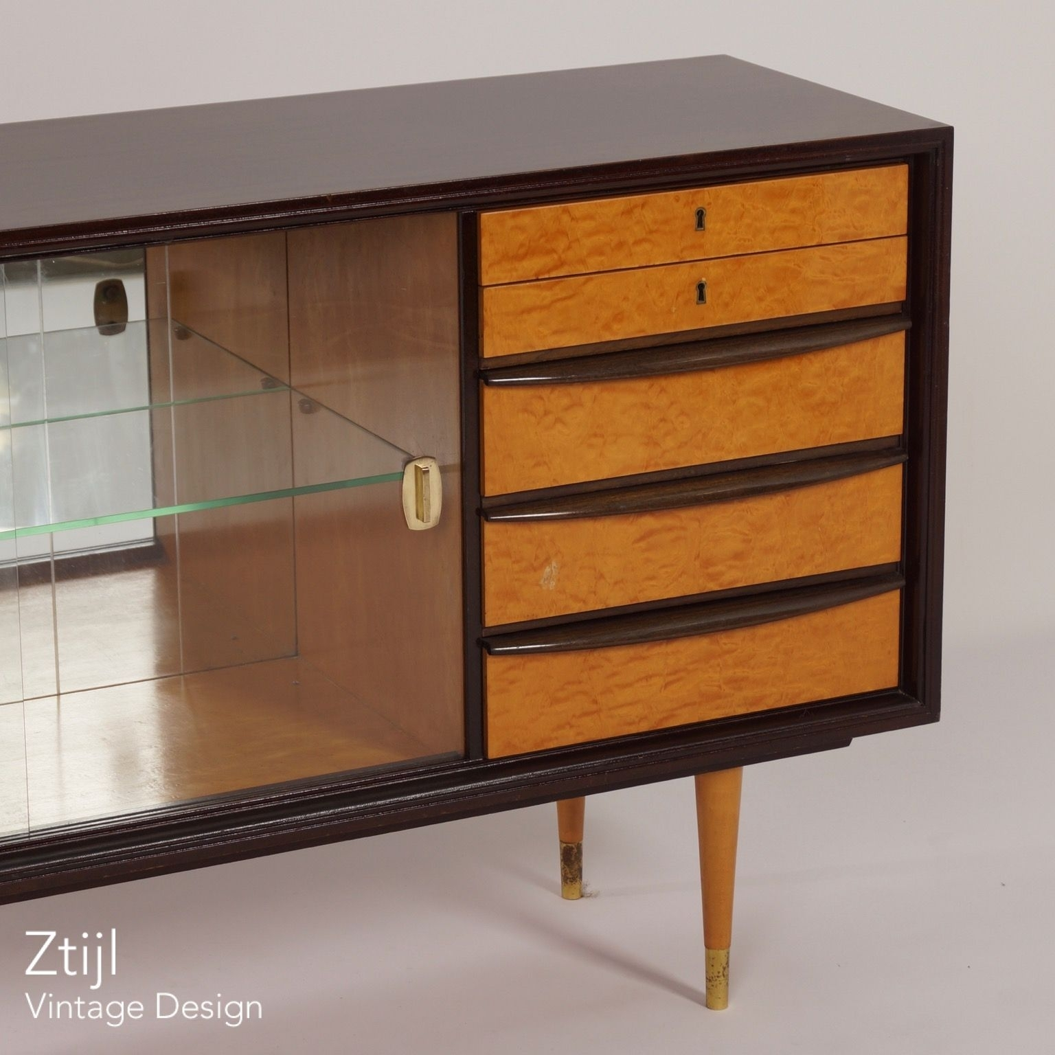Inspiration about Mahogany Sideboard With Showcase And Brass Details, 1960S – Vintage Pertaining To Most Popular Vintage 8 Glass Sideboards (#4 of 20)