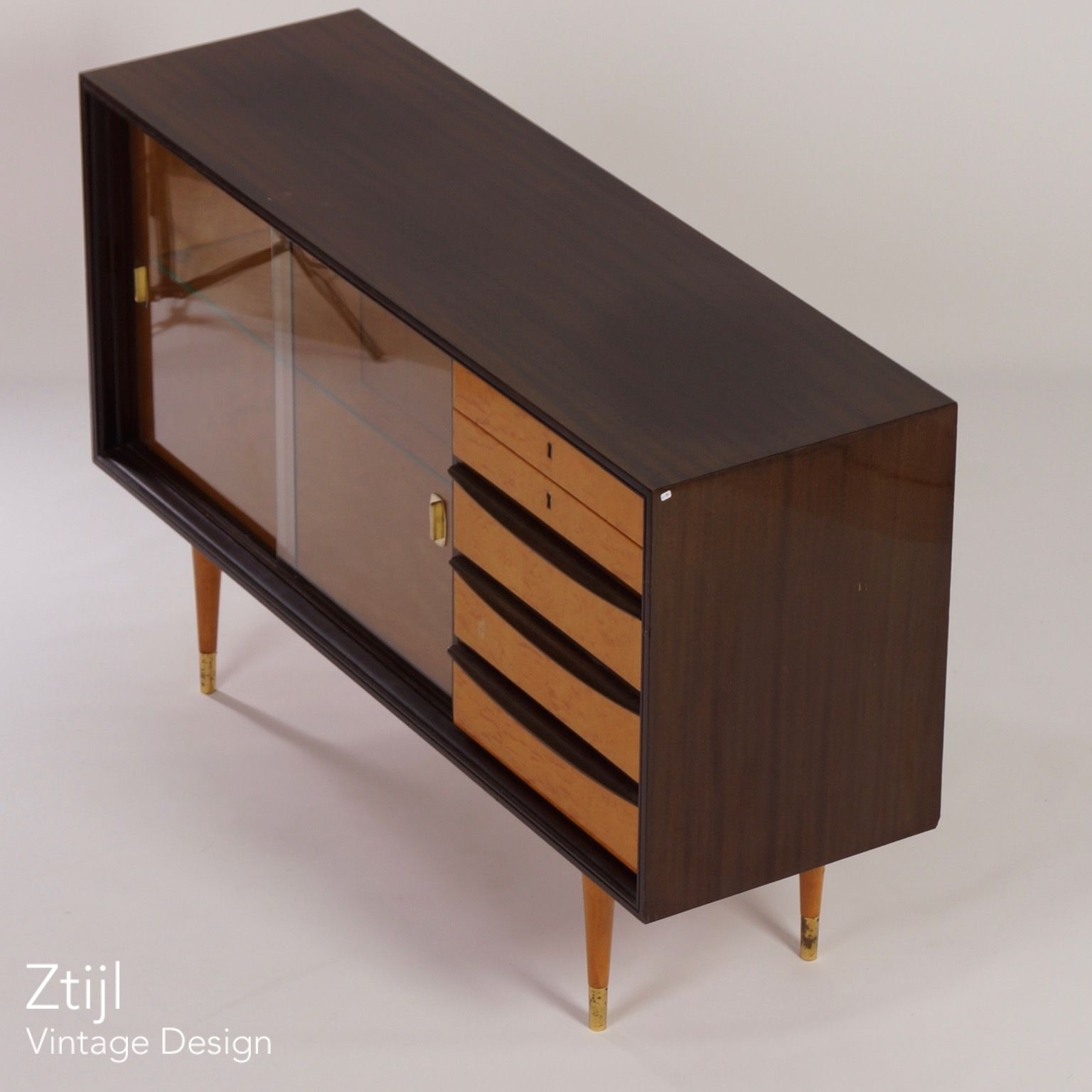 Inspiration about Mahogany Sideboard With Showcase And Brass Details, 1960S – Vintage With Current Vintage 8 Glass Sideboards (#16 of 20)