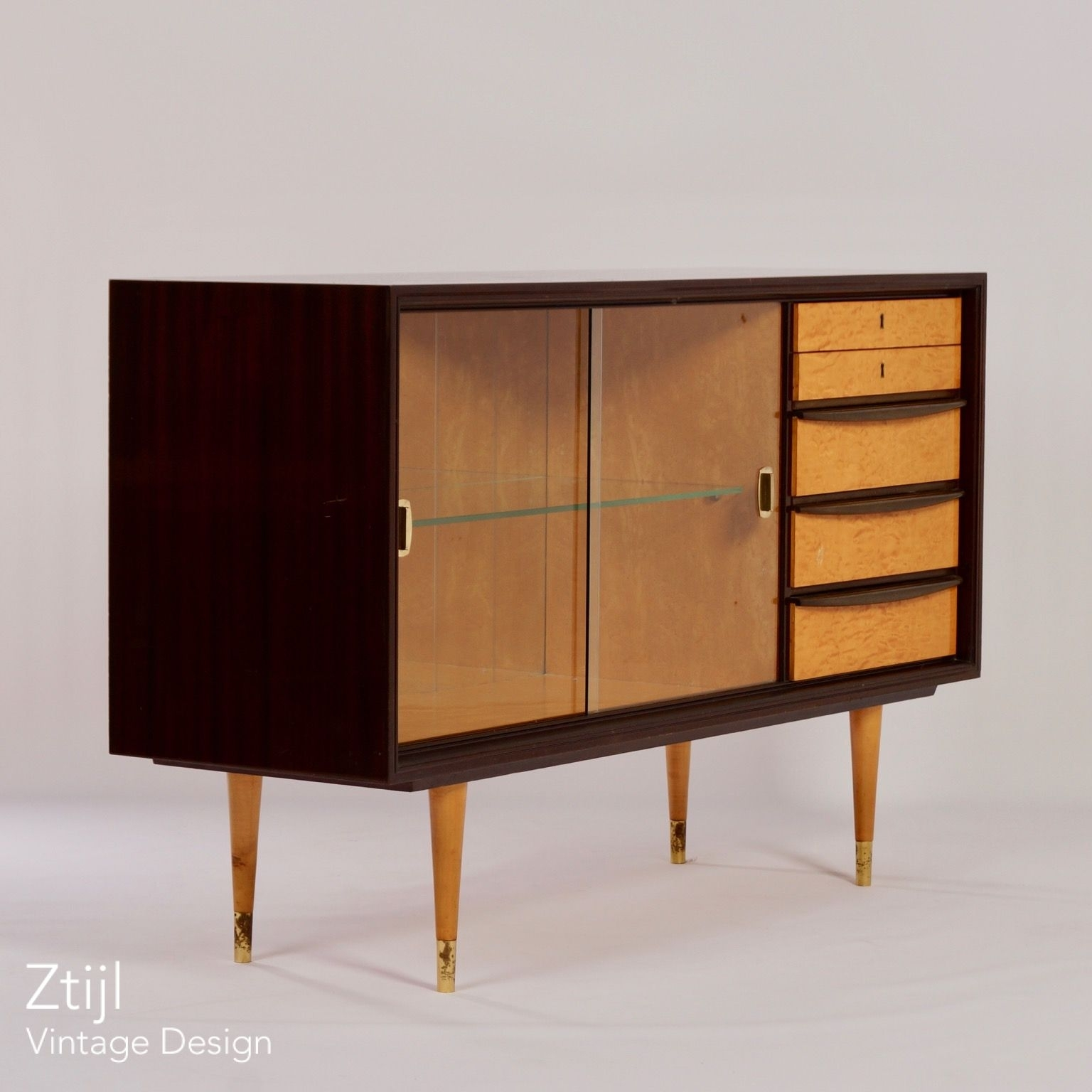 Mahogany Sideboard With Showcase And Brass Details, 1960s – Vintage Within Current Aged Brass Sideboards (View 13 of 20)