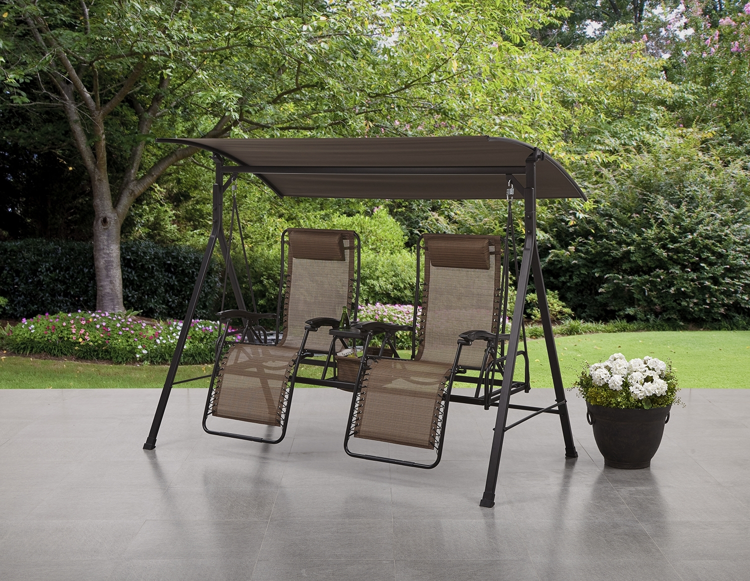 Inspiration about Mainstays Big And Tall Zero Gravity Outdoor Reclining Porch Swing With Regard To Widely Used Garten Storm Chairs With Espresso Finish Set Of 2 (#2 of 20)