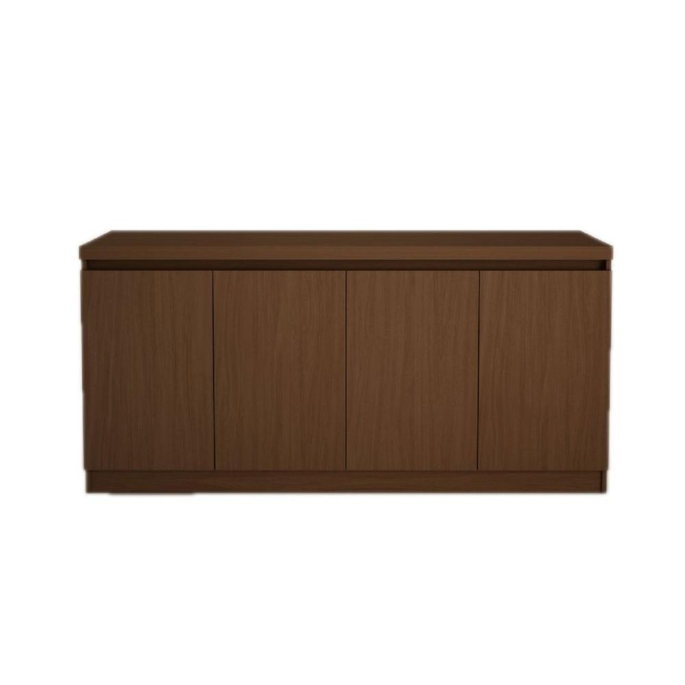 Inspiration about Manhattan Comfort Viennese 5 Ft. 4 Door Nut Brown Buffet Or Intended For Most Recent Metal Refinement 4 Door Sideboards (#12 of 20)