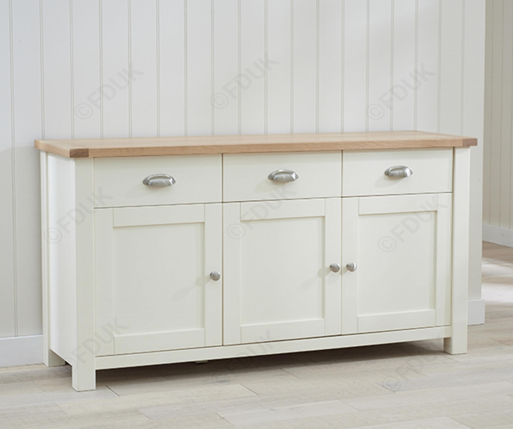 Mark Harris Sandringham | Sandringham Oak And Cream 3 Door 3 Drawer Pertaining To Most Current 4 Door/4 Drawer Metal Inserts Sideboards (#12 of 20)