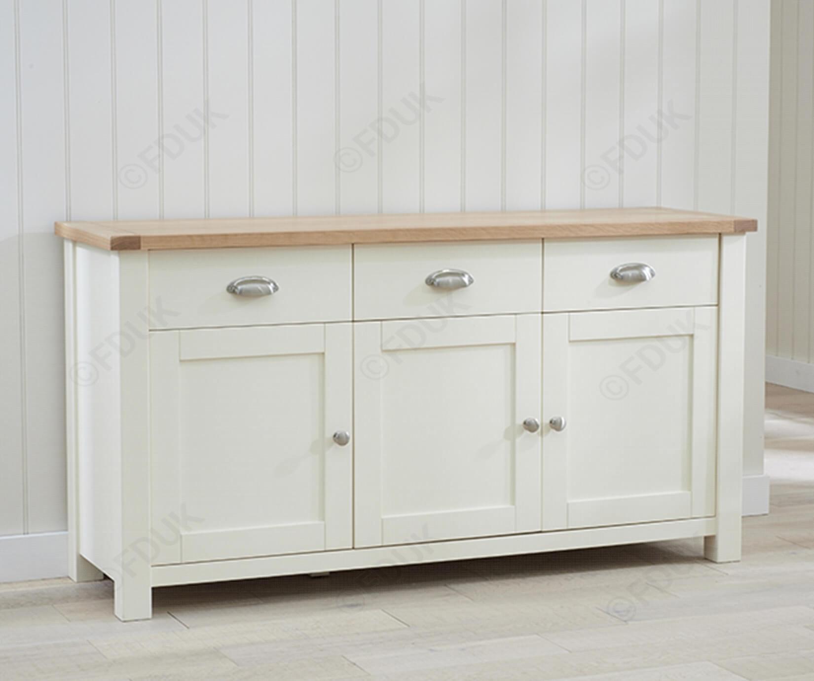 Mark Harris Sandringham | Sandringham Oak And Cream 3 Door 3 Drawer With Recent 4 Door 4 Drawer Metal Inserts Sideboards (#13 of 20)