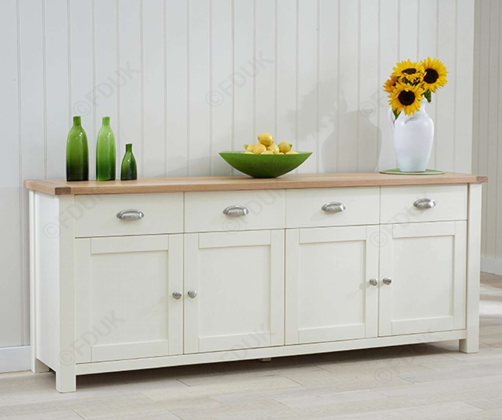 Popular Photo of 4 Door/4 Drawer Metal Inserts Sideboards