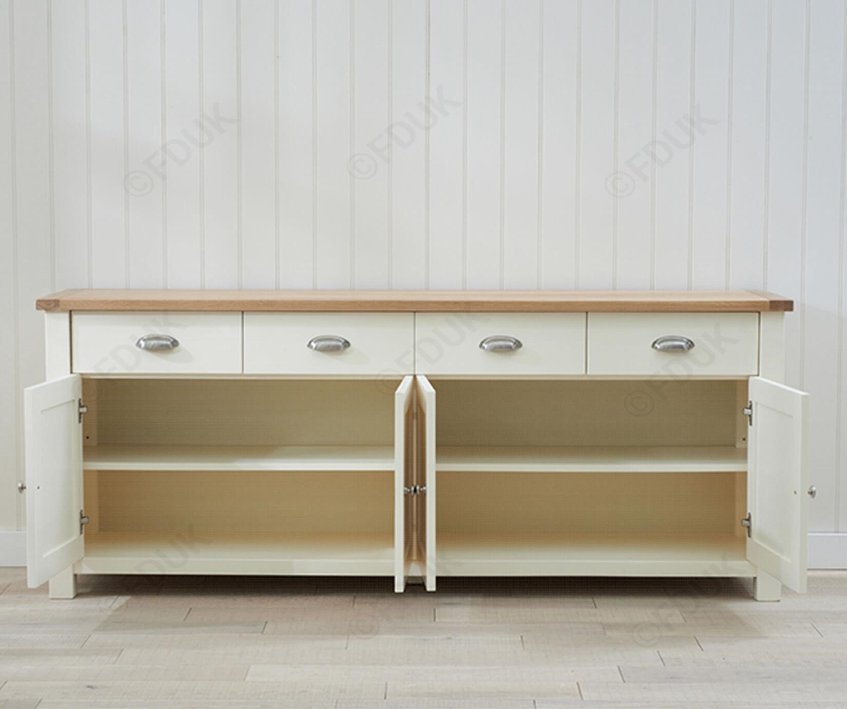 Mark Harris Sandringham | Sandringham Oak And Cream 4 Door 4 Drawer In Most Popular 4 Door 4 Drawer Metal Inserts Sideboards (#14 of 20)