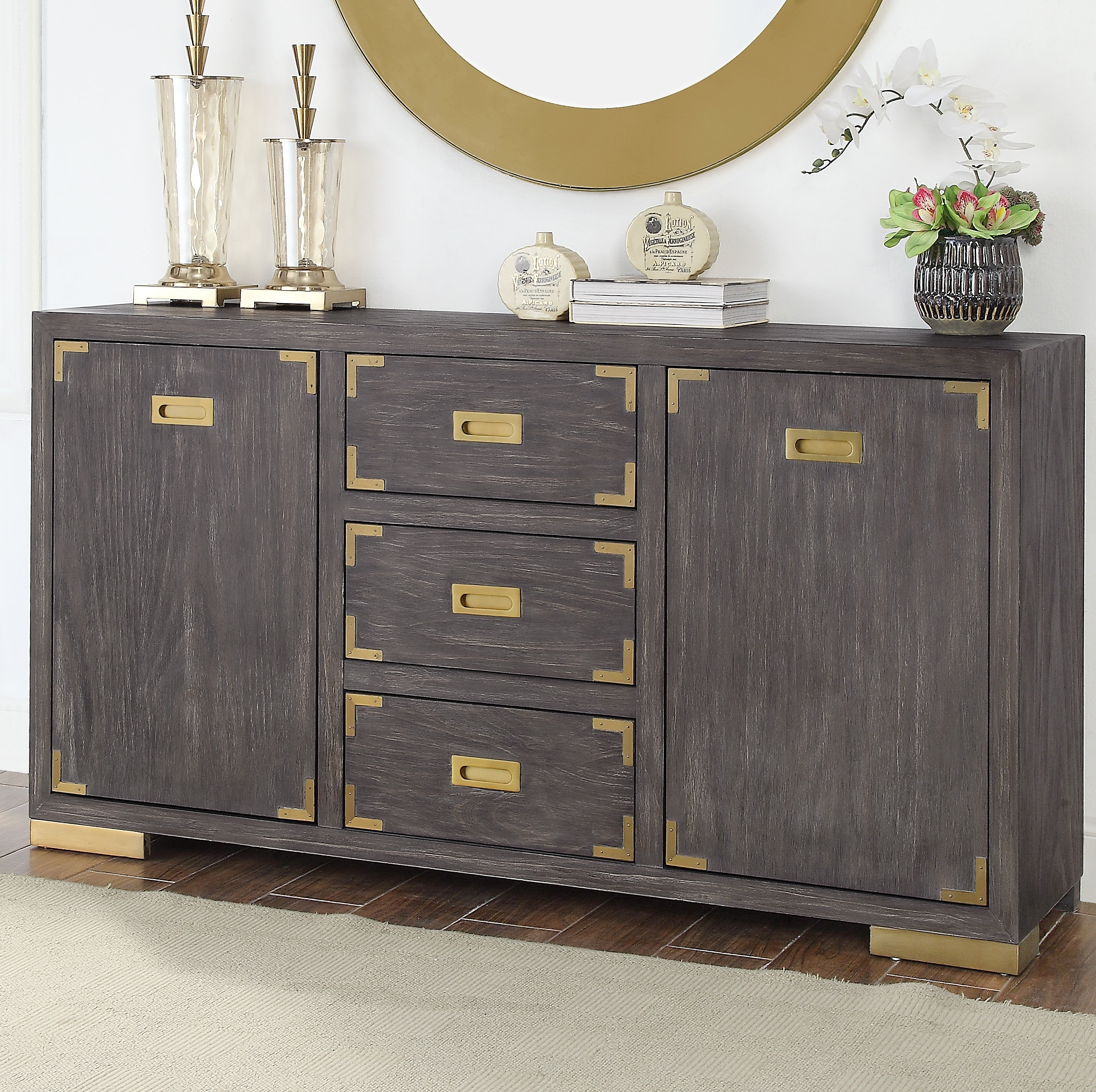 Inspiration about Mercer41 Laffoon 2 Door 3 Drawer Media Sideboard | Wayfair With Most Recent 2 Door Mirror Front Sideboards (#14 of 20)