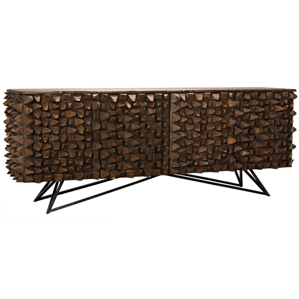 Inspiration about Mersin Modern Rustic Reclaimed Chunky Wood Metal Sideboard Buffet Within Best And Newest Blue Stone Light Rustic Black Sideboards (#14 of 20)