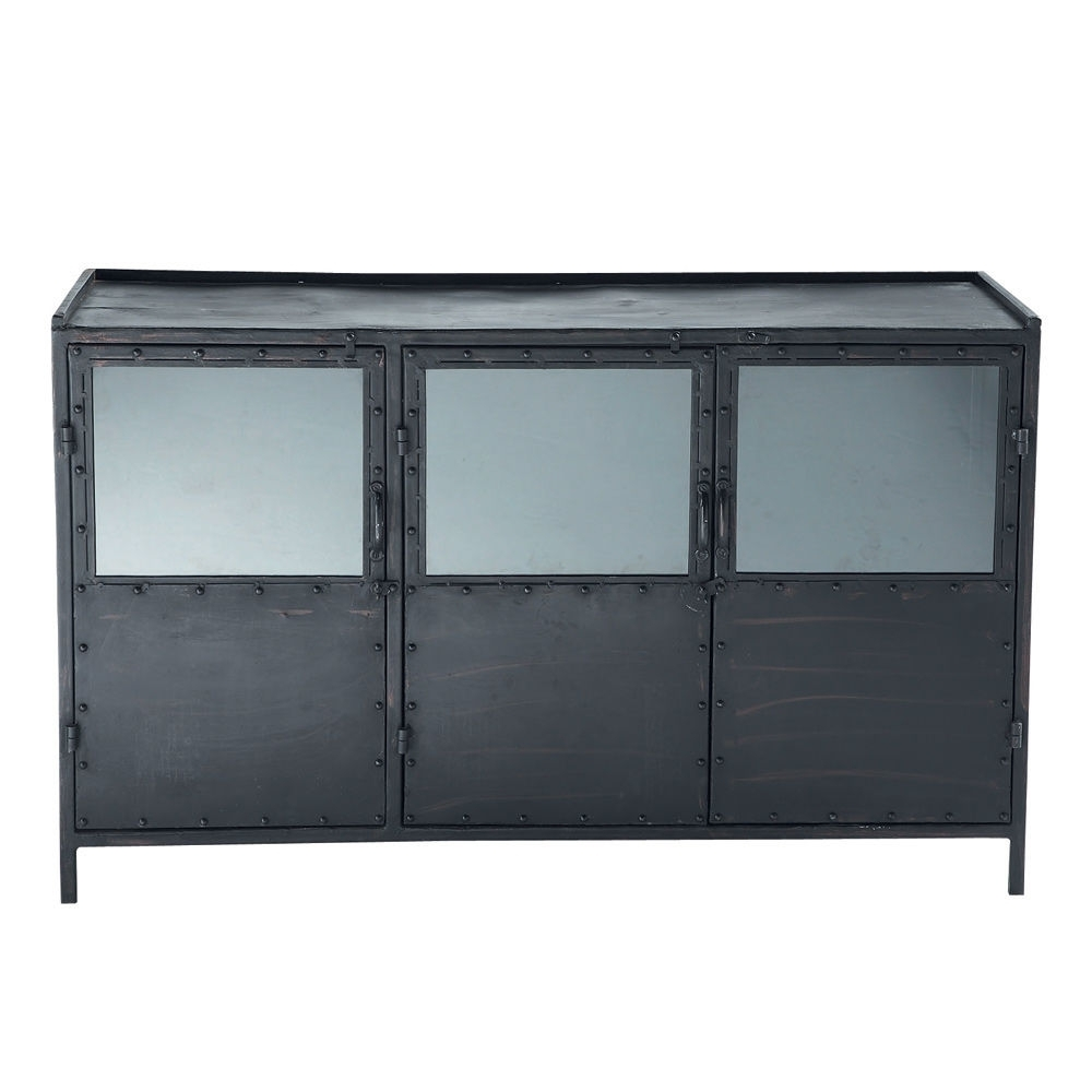 Inspiration about Metal Industrial Glazed Sideboard In Black W 130Cm | Maisons Du Monde Throughout 2017 Rani 4 Door Sideboards (#13 of 20)