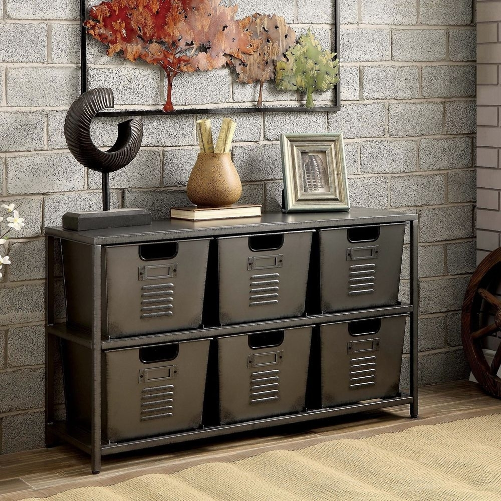 Metal Industrial Rustic Modern Storage Console Table With Bins New Throughout Recent Magnolia Home Dylan Sideboards By Joanna Gaines (View 16 of 20)