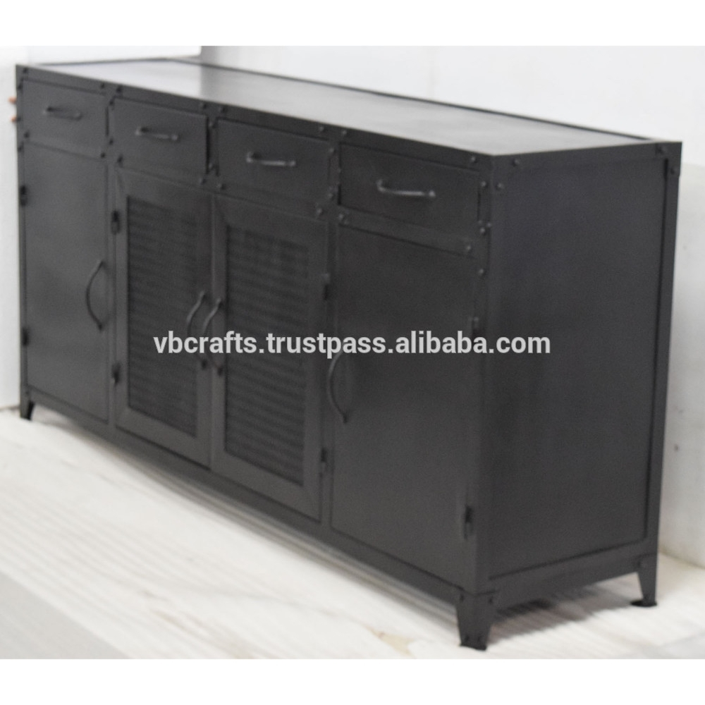 Inspiration about Metal Industrial Sideboard Cabinet Retro Vintage Design – Buy For Most Up To Date Corrugated Metal Sideboards (#2 of 20)