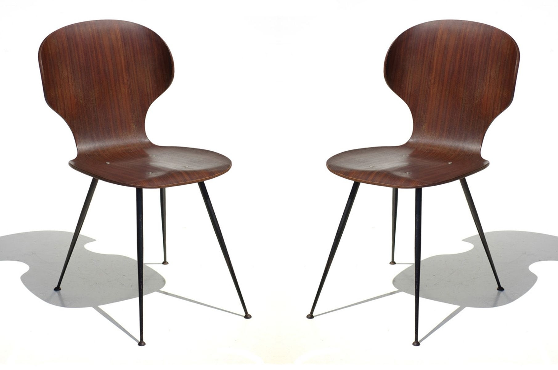 Mid Century Plywood & Metal Dining Chairscarlo Ratti For Lissoni For Widely Used Plywood & Metal Brown Dining Chairs (#6 of 20)