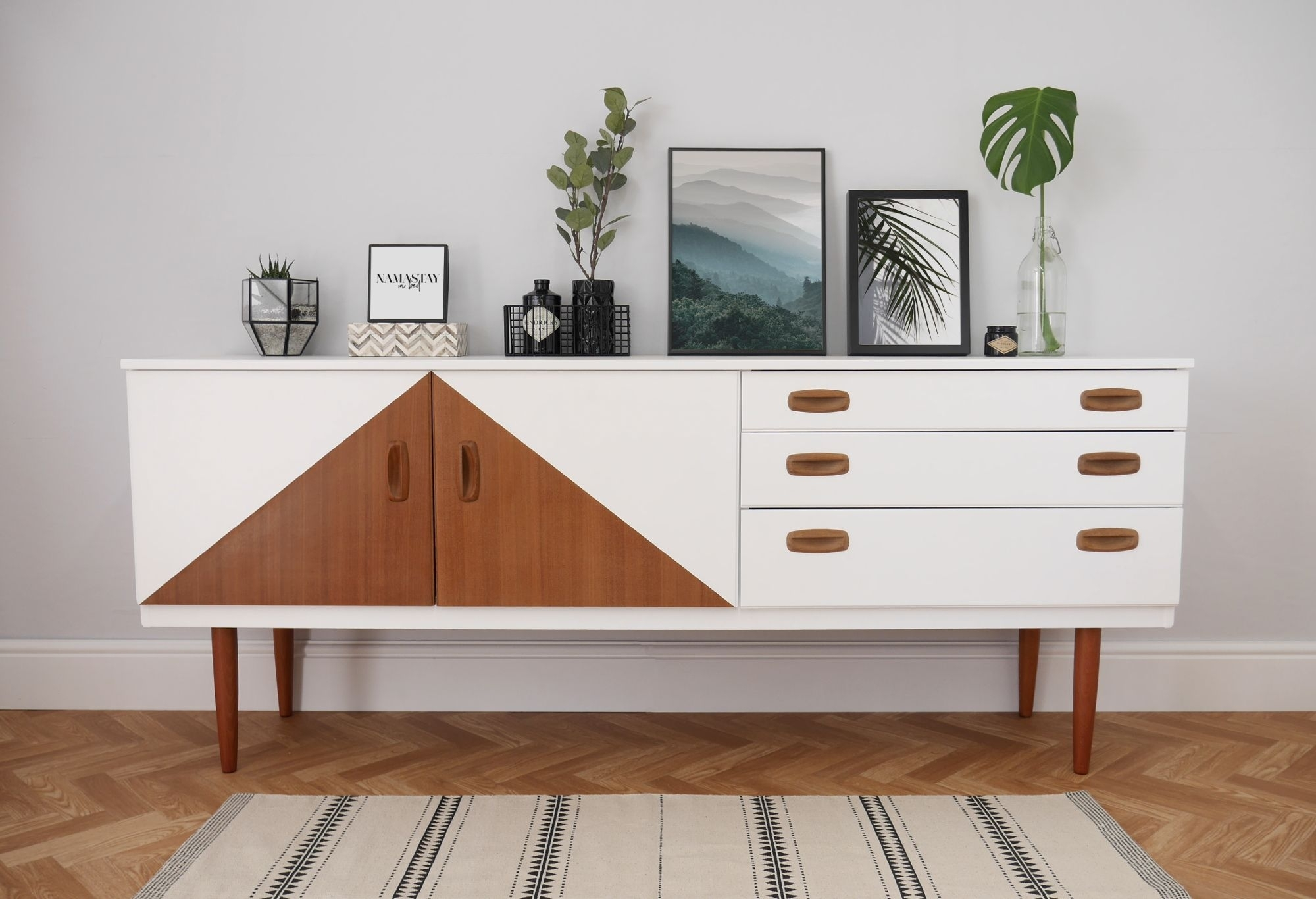 Inspiration about Mid Century Sideboard, Painted White With Teak Triangle Design Within Most Current Cass 2 Door Sideboards (#17 of 20)