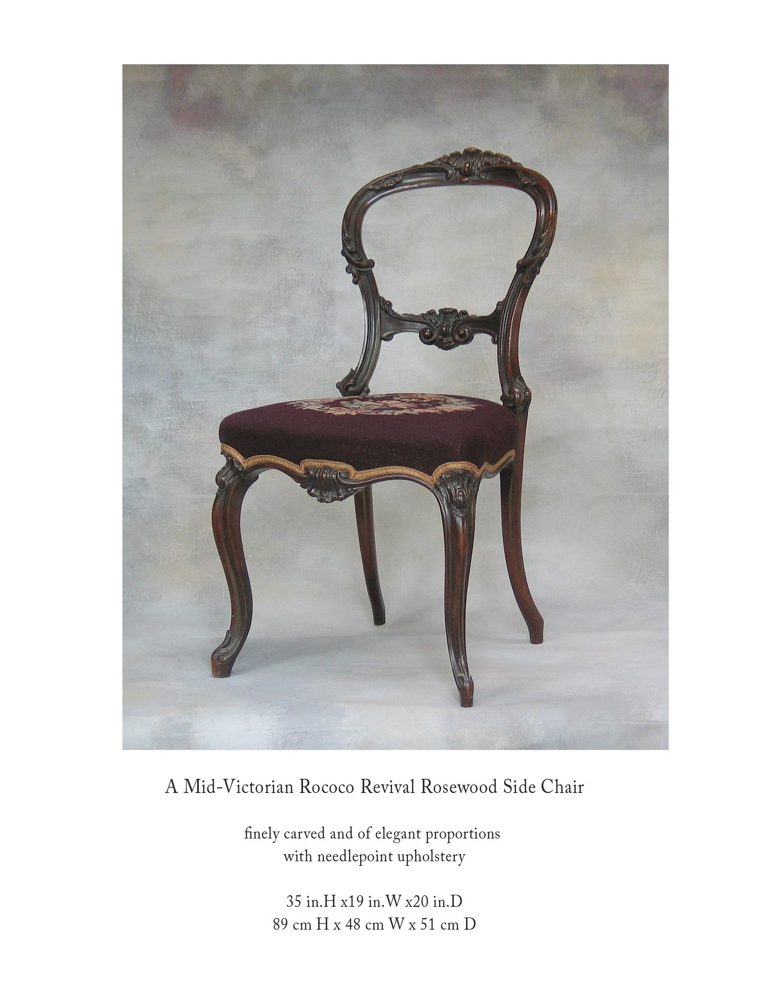 Inspiration about Mid Victorian Rocco Revival Rosewood Side Chair With Needlepoint For Popular Rocco Side Chairs (#20 of 20)