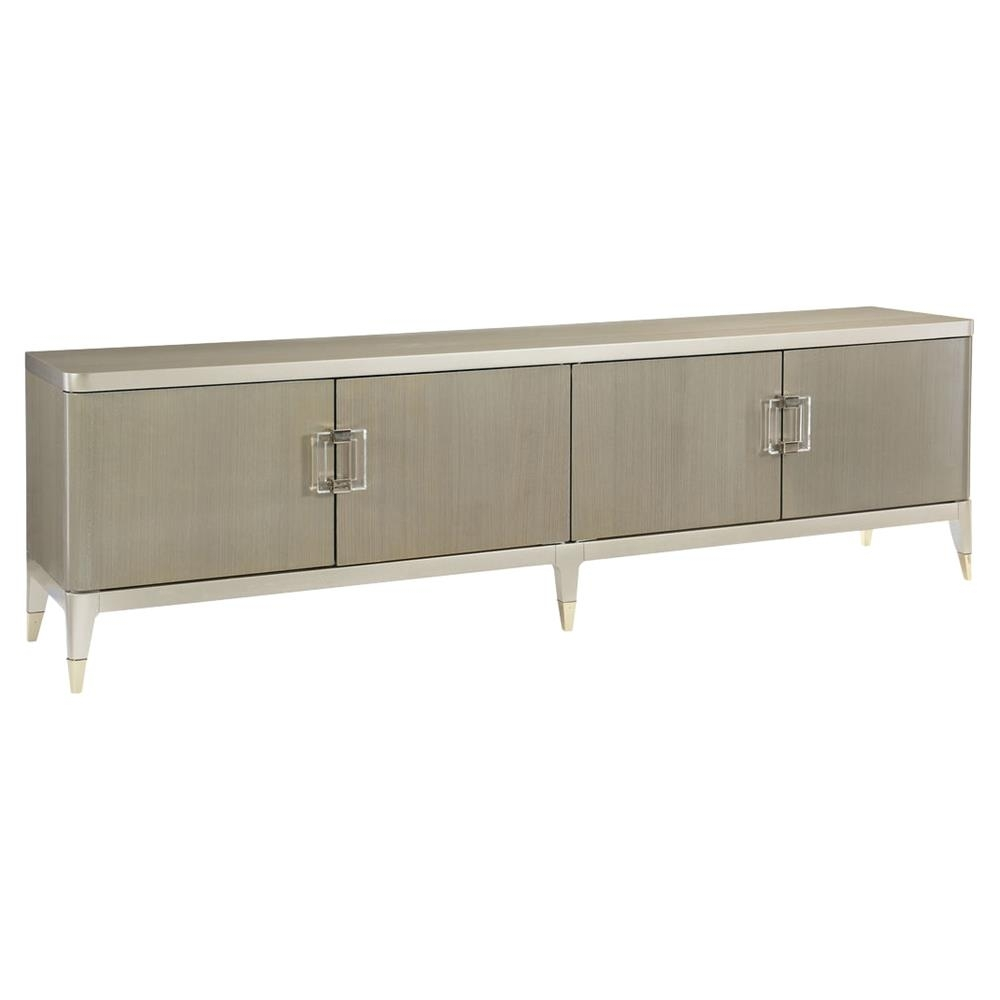 Miranda Modern Classic Champagne Taupe 4 Door Koto Panel Media Cabinet Within Recent 4 Door/4 Drawer Metal Inserts Sideboards (#15 of 20)