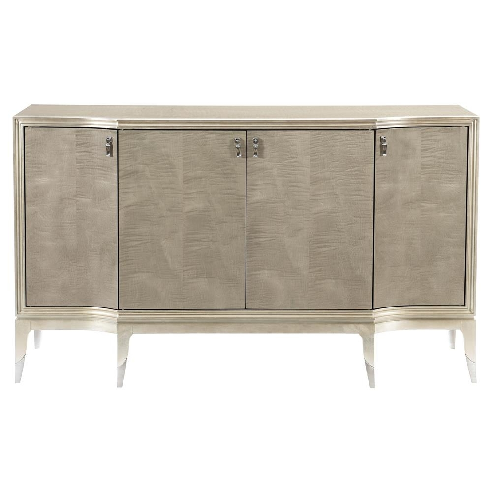 Miranda Modern Classic Silver Leaf 4 Door Sideboard | Kathy Kuo Home In Most Recent 4 Door/4 Drawer Metal Inserts Sideboards (#16 of 20)