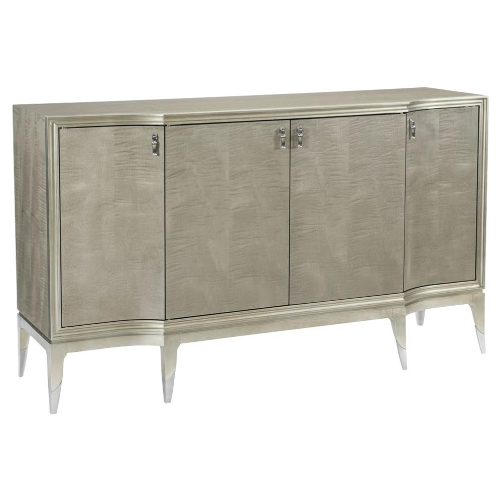 Inspiration about Miranda Modern Classic Silver Leaf 4 Door Sideboard | Kathy Kuo Home Inside Most Current Capiz Refinement Sideboards (#3 of 20)