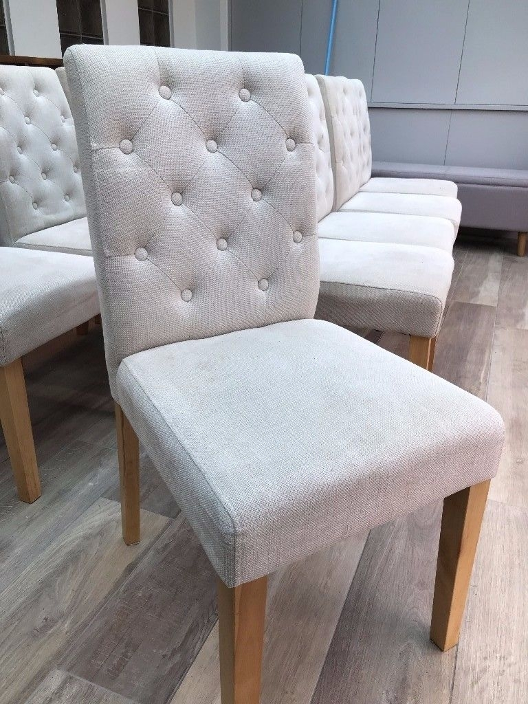 Moda Grey Side Chairs Throughout Latest Next Moda Button Dining Chair – In Cream (1 Chair) (10 Available (#12 of 20)