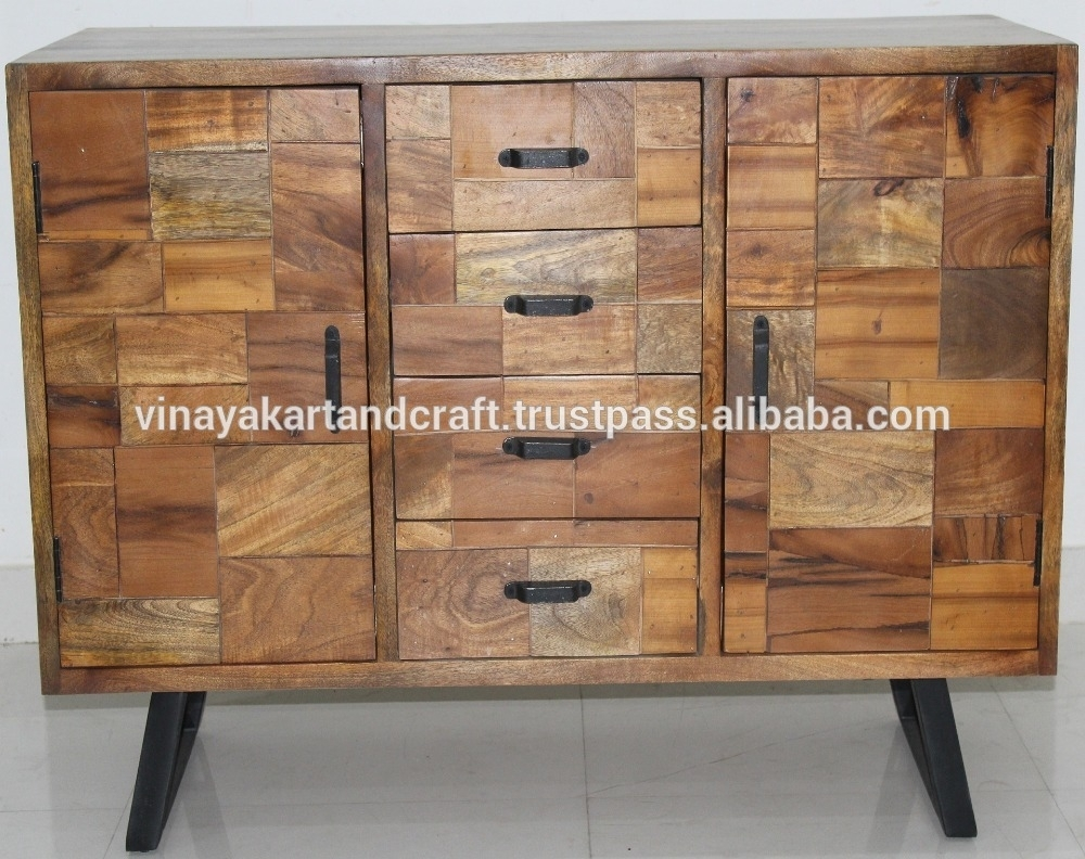 Inspiration about Modern Furniture Sideboard Design With Matt Black Metal Base With Best And Newest Corrugated Natural 6 Door Sideboards (#1 of 20)