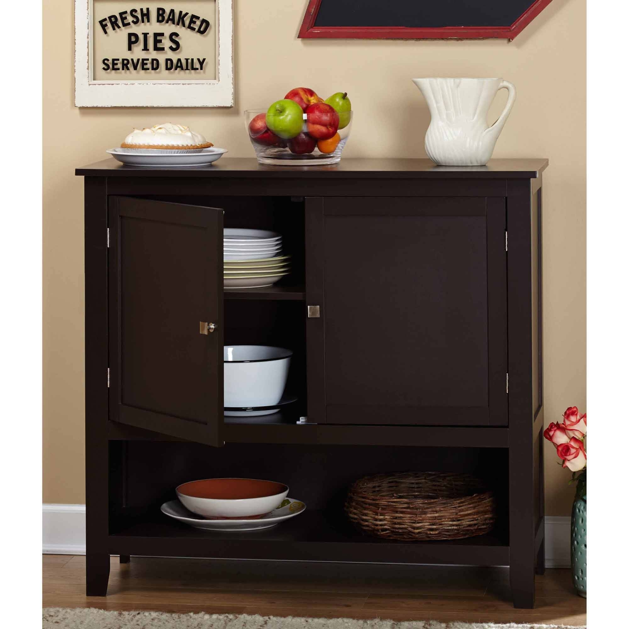 Montego Espresso Wooden Buffet – Walmart Intended For Latest Palazzo 87 Inch Sideboards (#8 of 20)