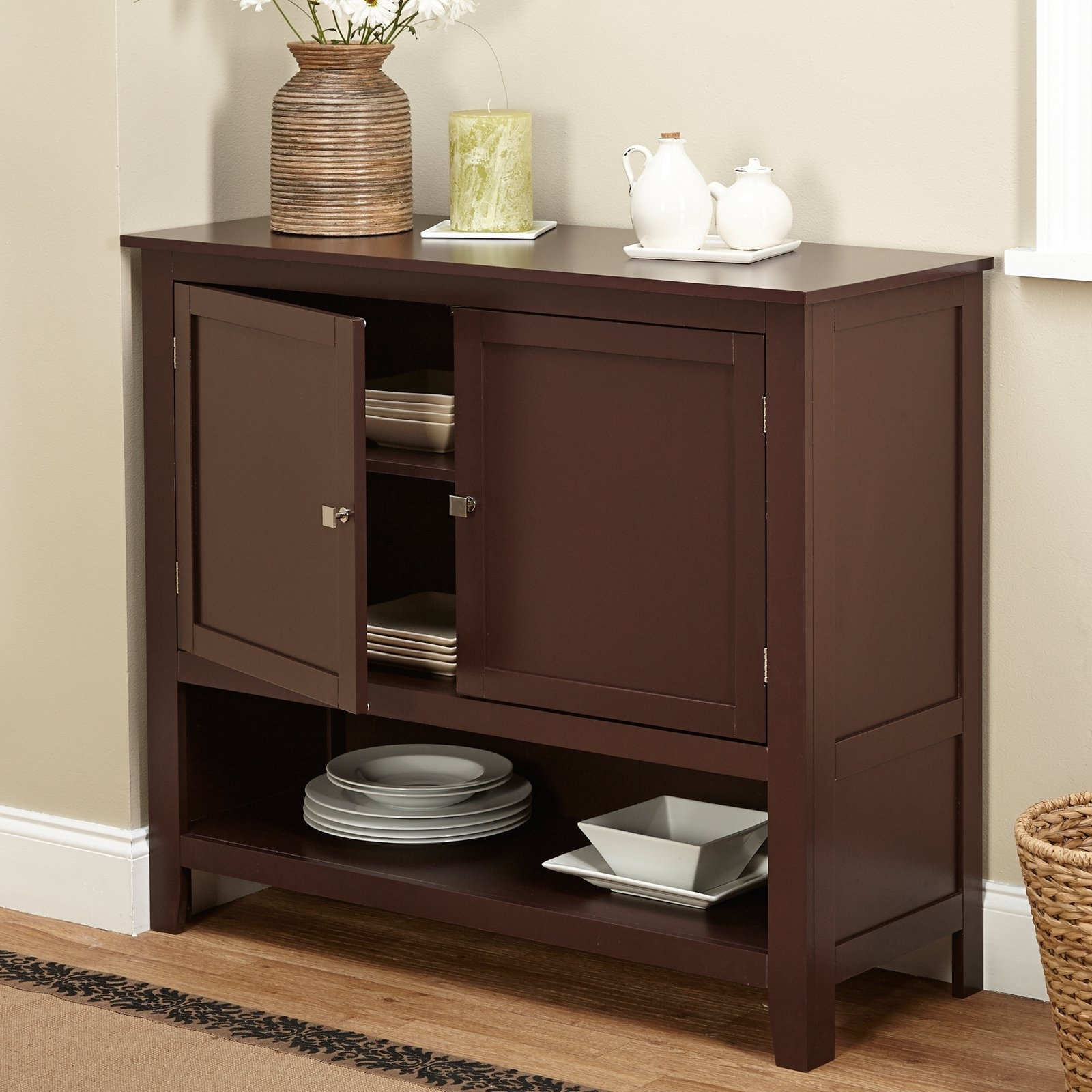 Inspiration about Montego Espresso Wooden Buffet – Walmart With Regard To 2018 Palazzo 87 Inch Sideboards (#19 of 20)