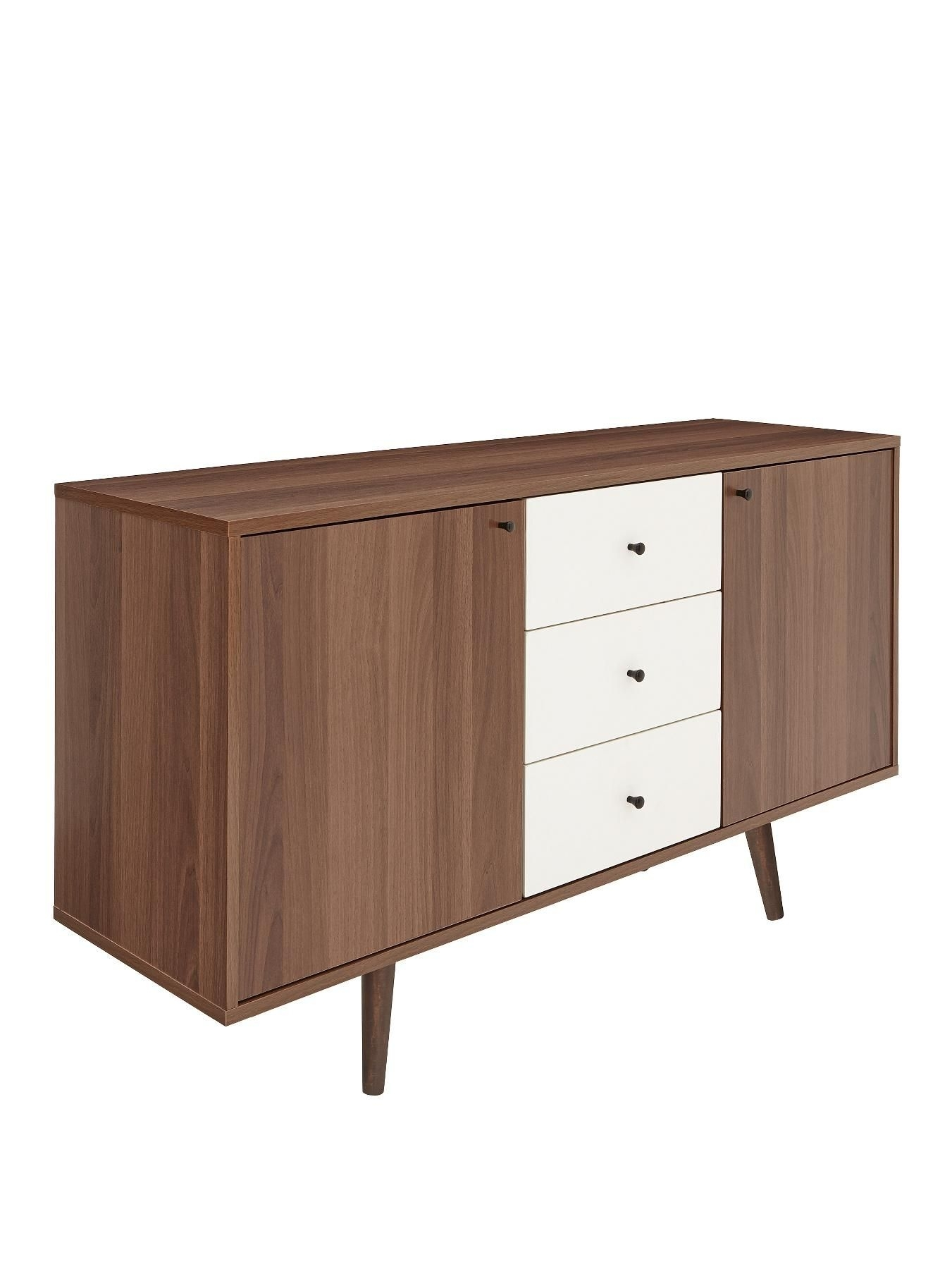Inspiration about Monty Retro Large Sideboard | Energia Part 1 Office Finishes Throughout Recent Walnut Finish 2 Door/3 Drawer Sideboards (#4 of 20)