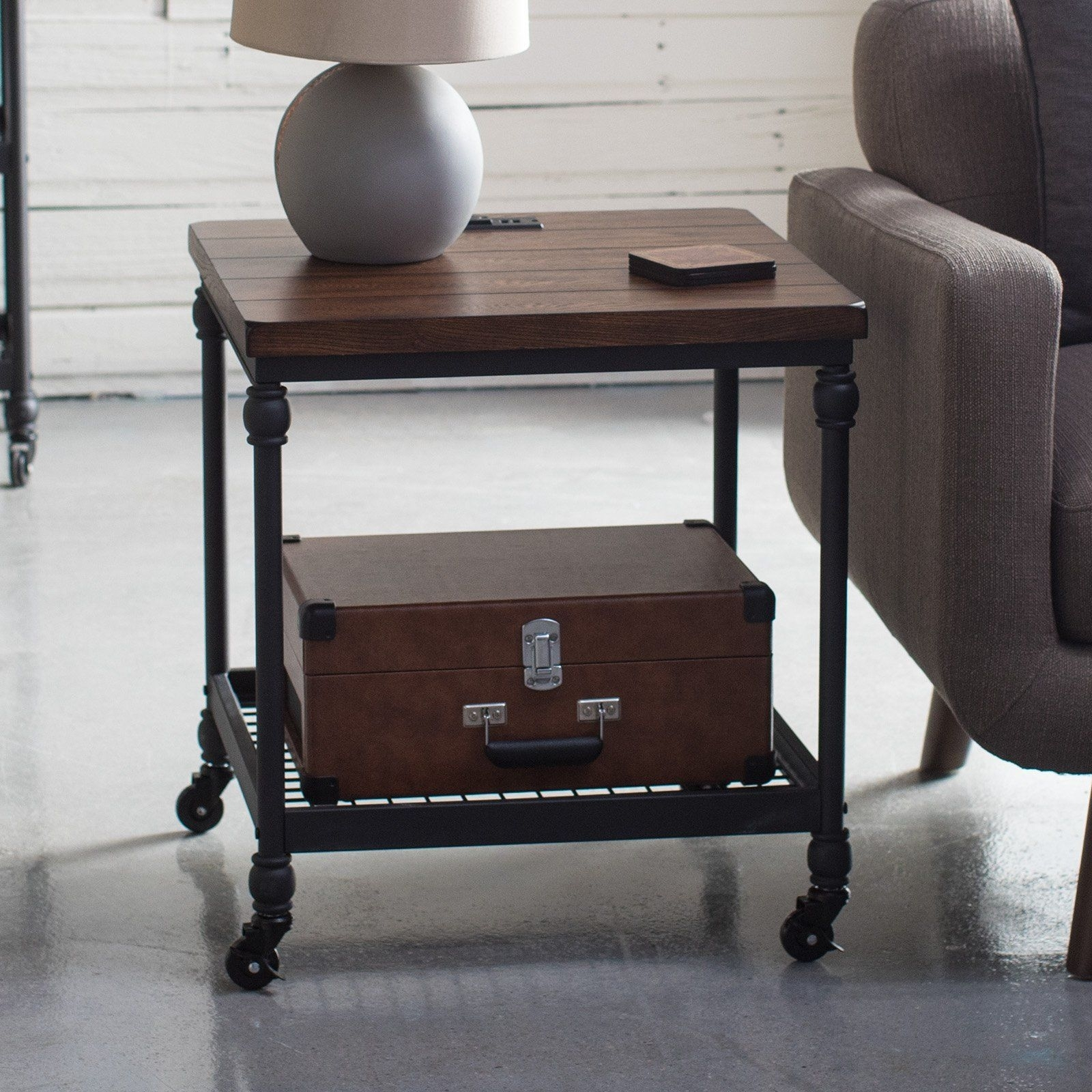 Most Current Belham Living Archer Industrial End Table With Power Outlet (#15 of 20)