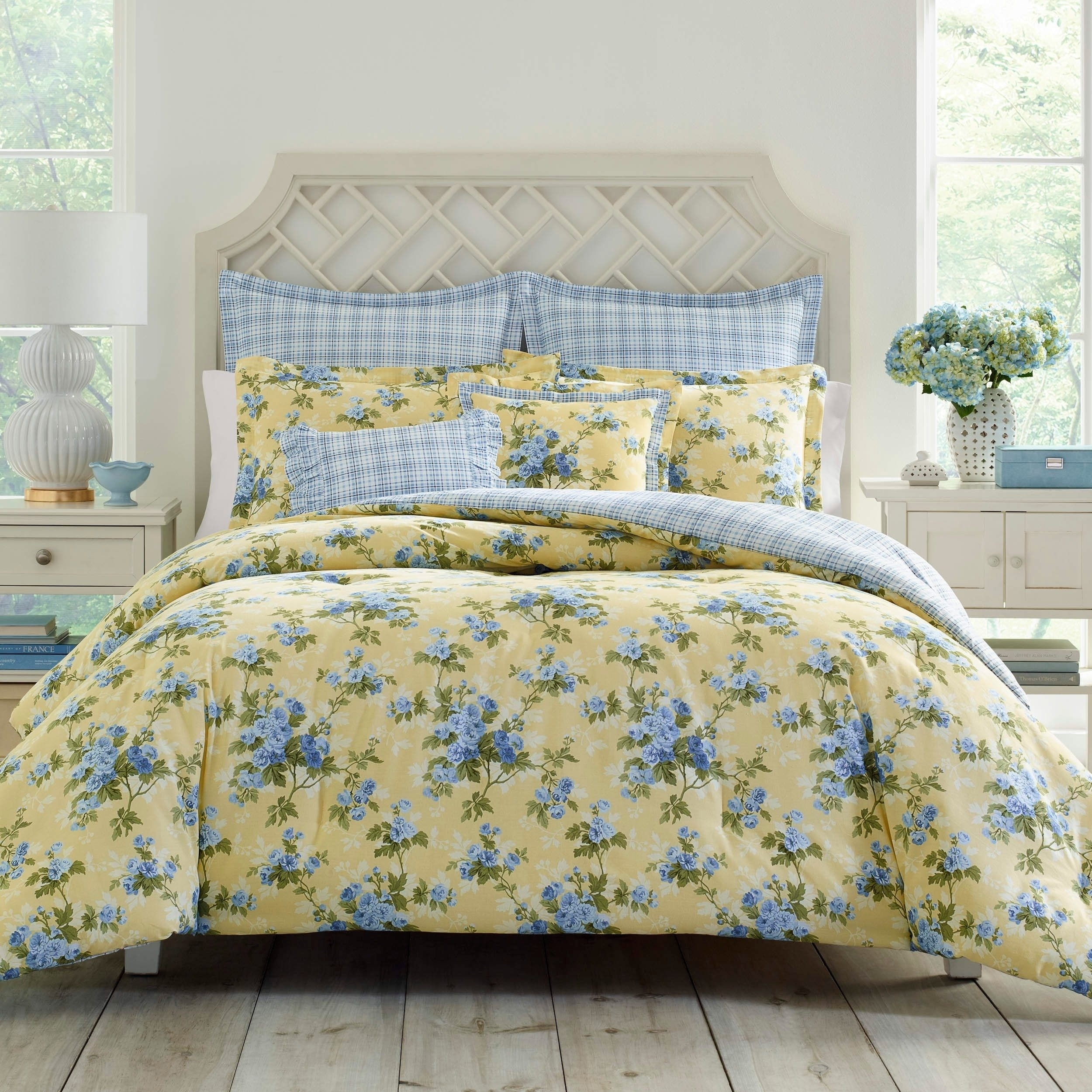 Most Current Shop Laura Ashley Cassidy Comforter Set – On Sale – Free Shipping Regarding Garten Delft Skirted Side Chairs Set Of  (#16 of 20)