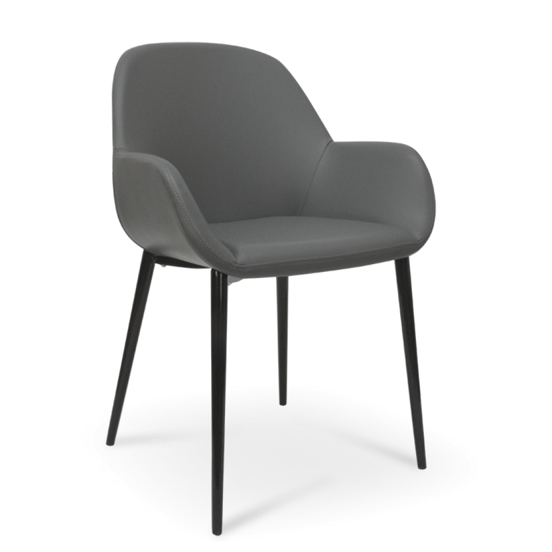Most Popular Lynton Dining Chair In Charcoal Grey With Black Legs (#17 of 20)