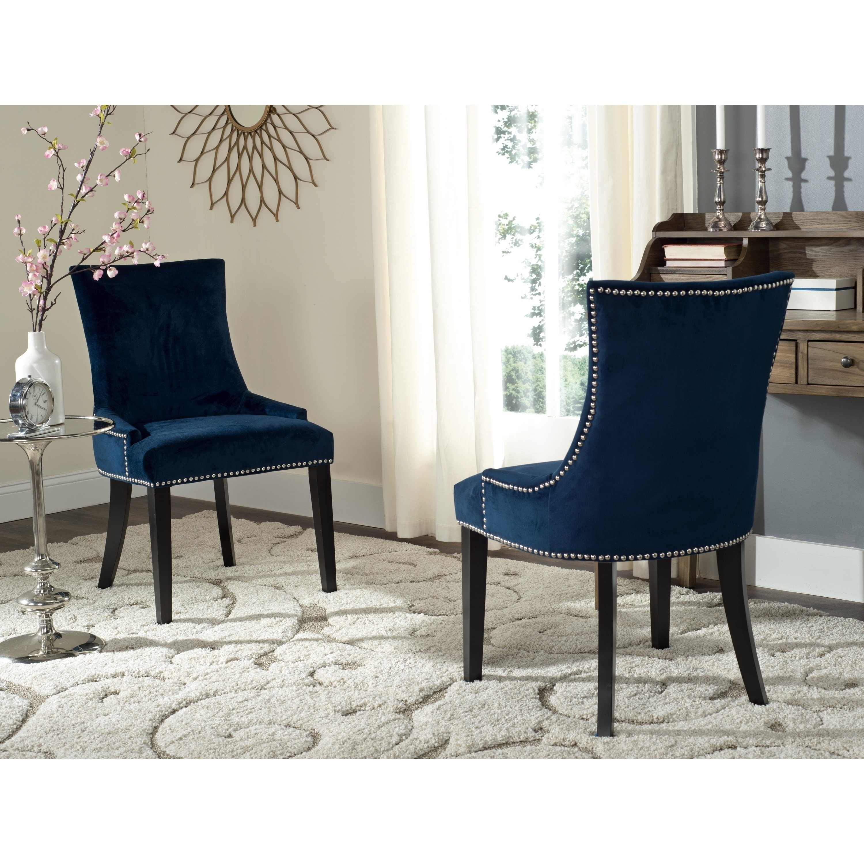 Most Popular Shop Safavieh En Vogue Dining Lester Navy Dining Chairs (Set Of 2 Intended For Pilo Grey Side Chairs (View 11 of 20)