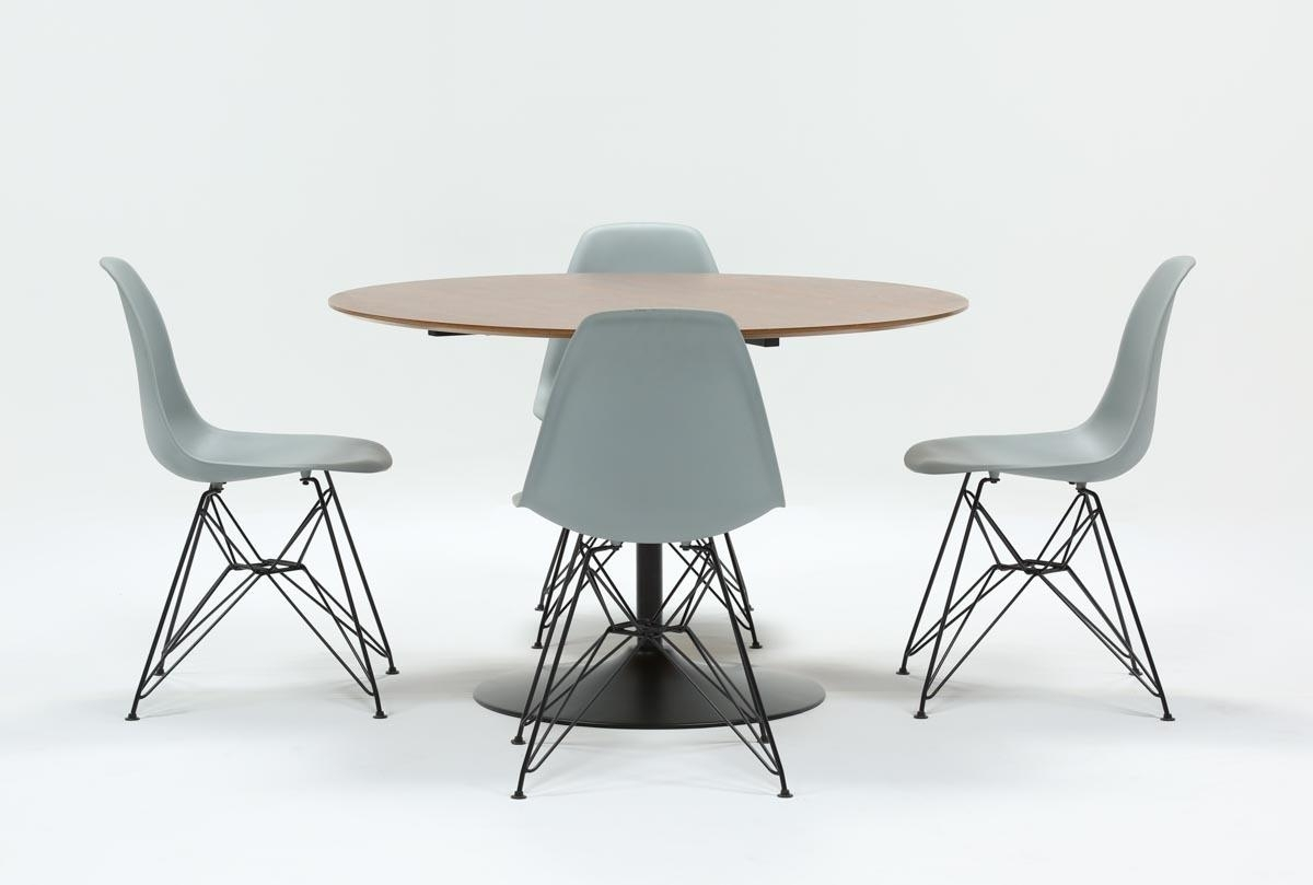 Most Popular Vespa 5 Piece Round Dining Set With Alexa Grey Side Chairs (View 4 of 20)