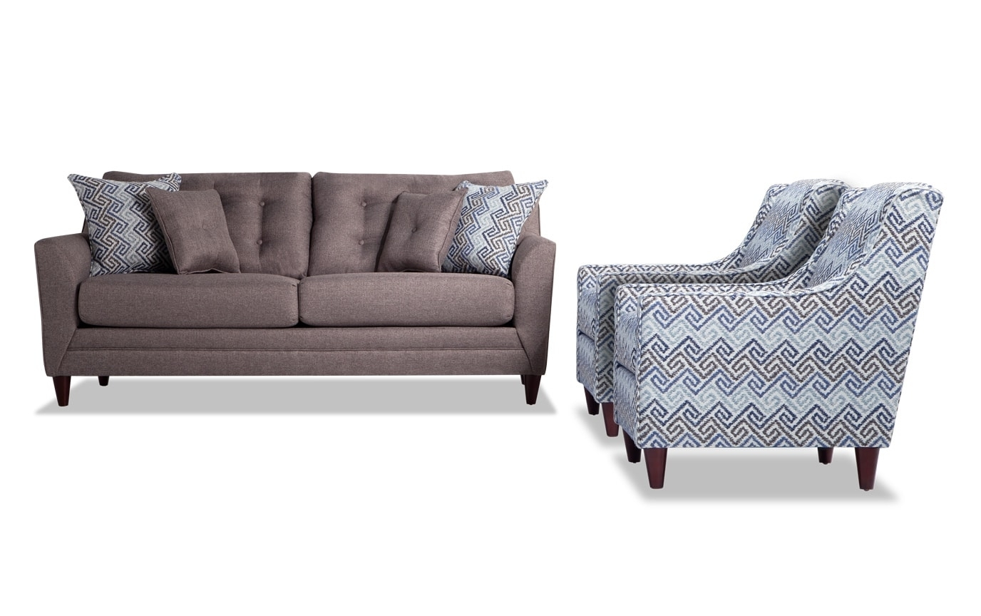 Most Recent Jaxon Grey Upholstered Side Chairs With Regard To Jaxon Sofa & 2 Accent Chairs (#14 of 20)