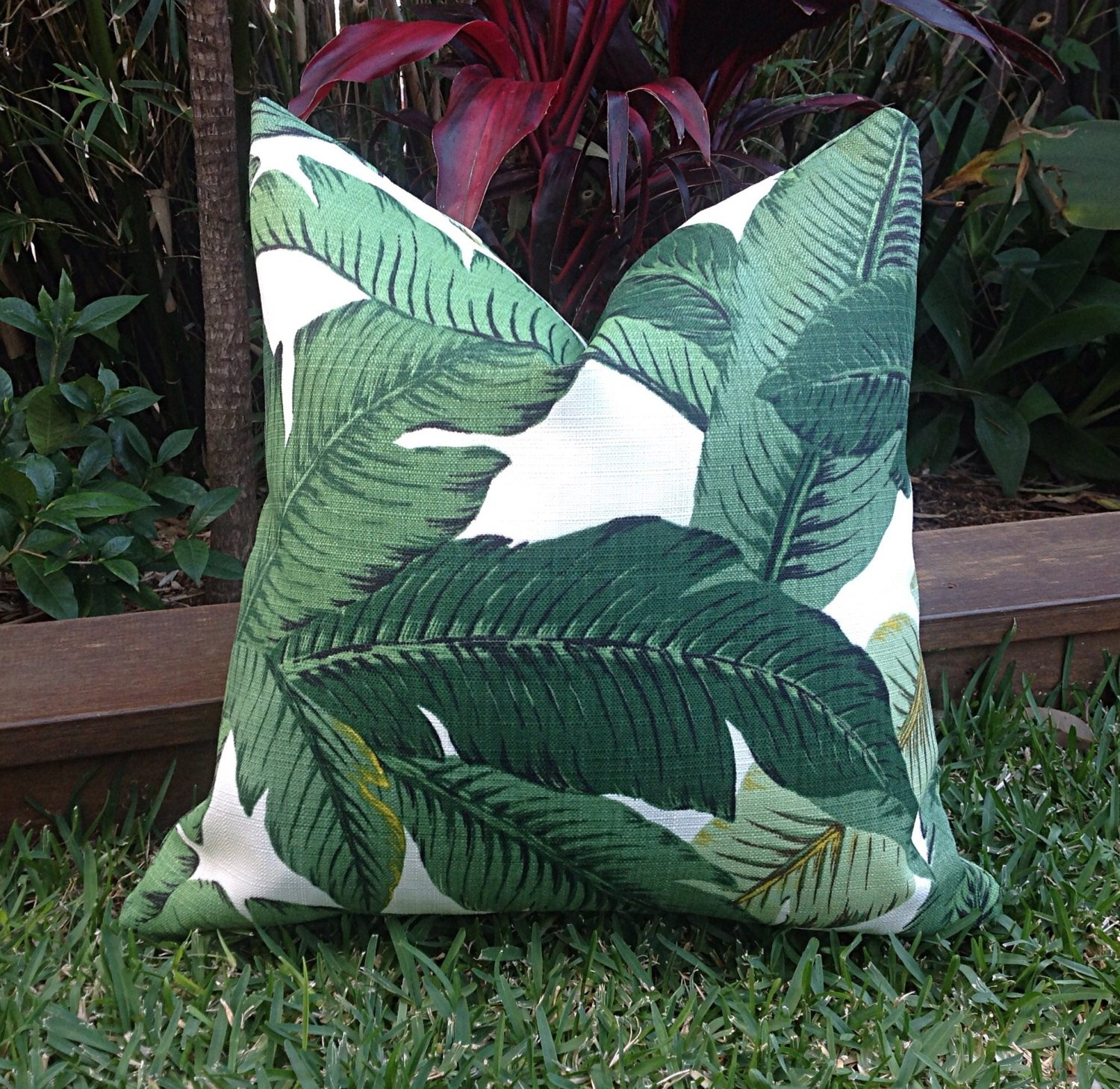 Most Recent Palm Leaf Cushions Banana Leaf Outdoor Cushions Cushion (#14 of 20)