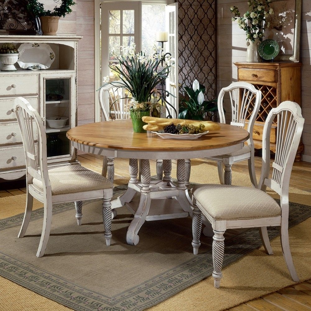 Most Recent Pine Wood White Dining Chairs Pertaining To Wilshire Wood Roundoval Dining Table Chairs In Pine (#8 of 20)