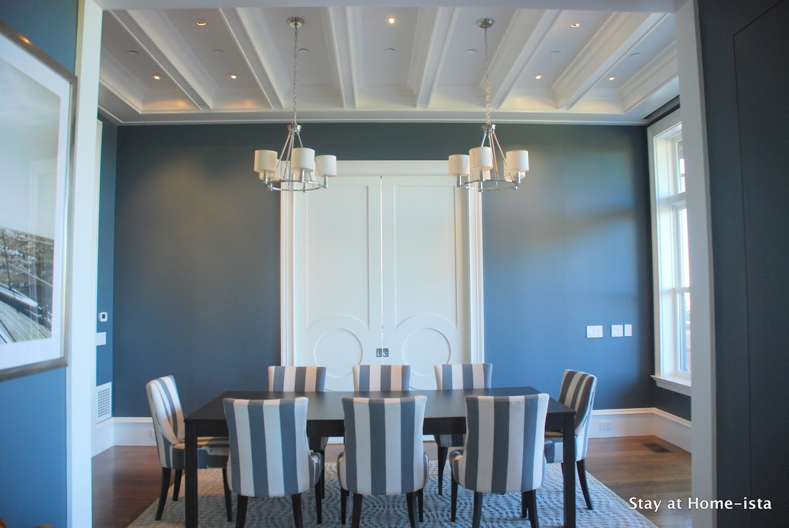 Inspiration about Most Recent Stay At Home Ista: Charcoal Grey Dining Room Regarding Blue Stripe Dining Chairs (#9 of 20)