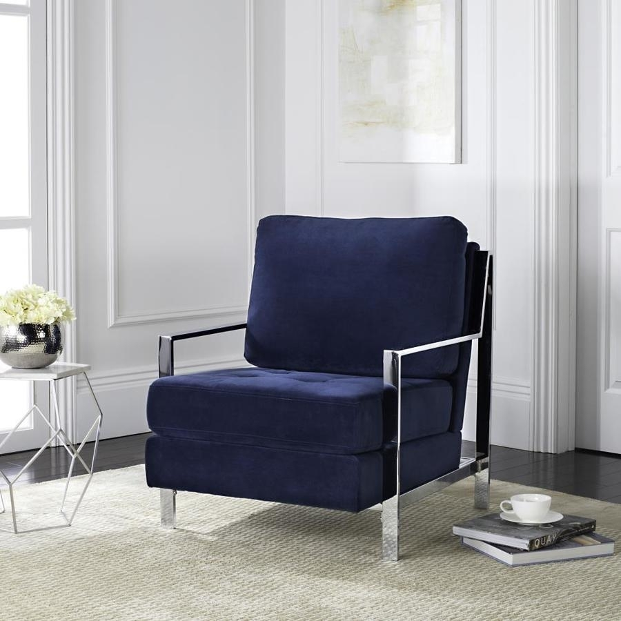 Most Recent Walden Upholstered Arm Chairs Within Shop Safavieh Walden Casual Navy Accent Chair At Lowes (#5 of 20)