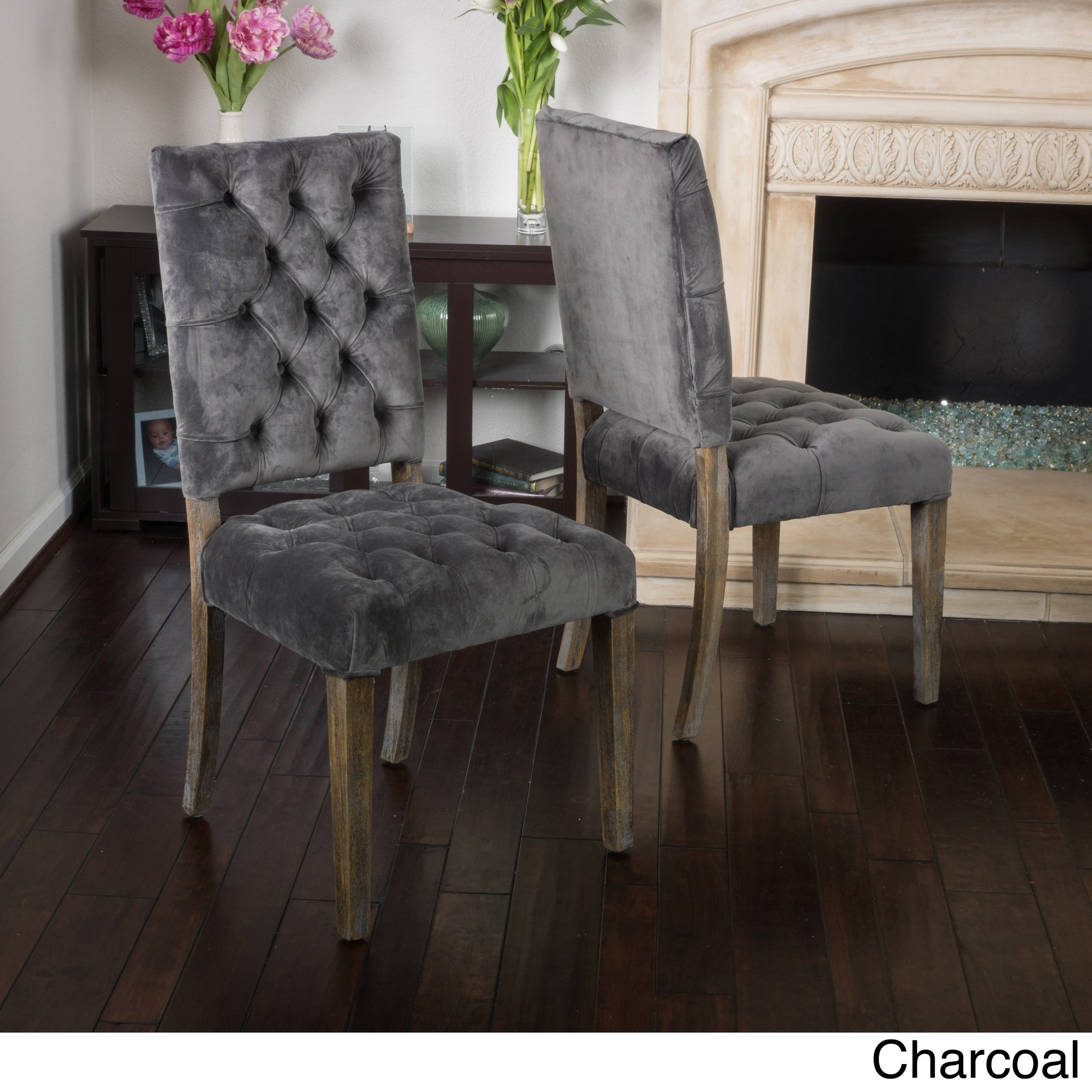 Most Recently Released Charcoal Dining Chairs With Regard To Shop Saltillo Velvet Dining Chair (Set Of 2)Christopher Knight (#18 of 20)